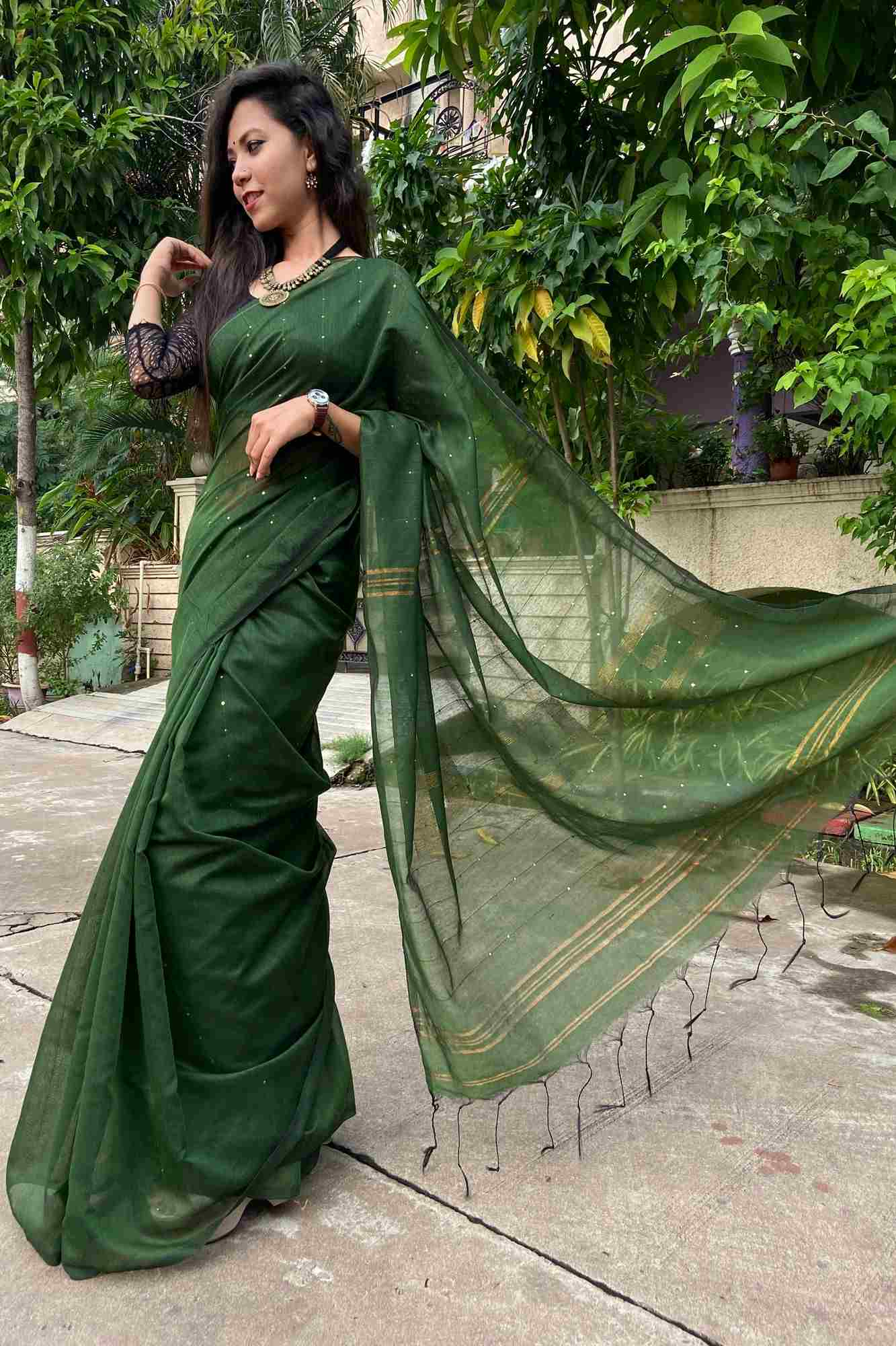 Matka cotton silk with sequins all over wrap in 1 minute saree