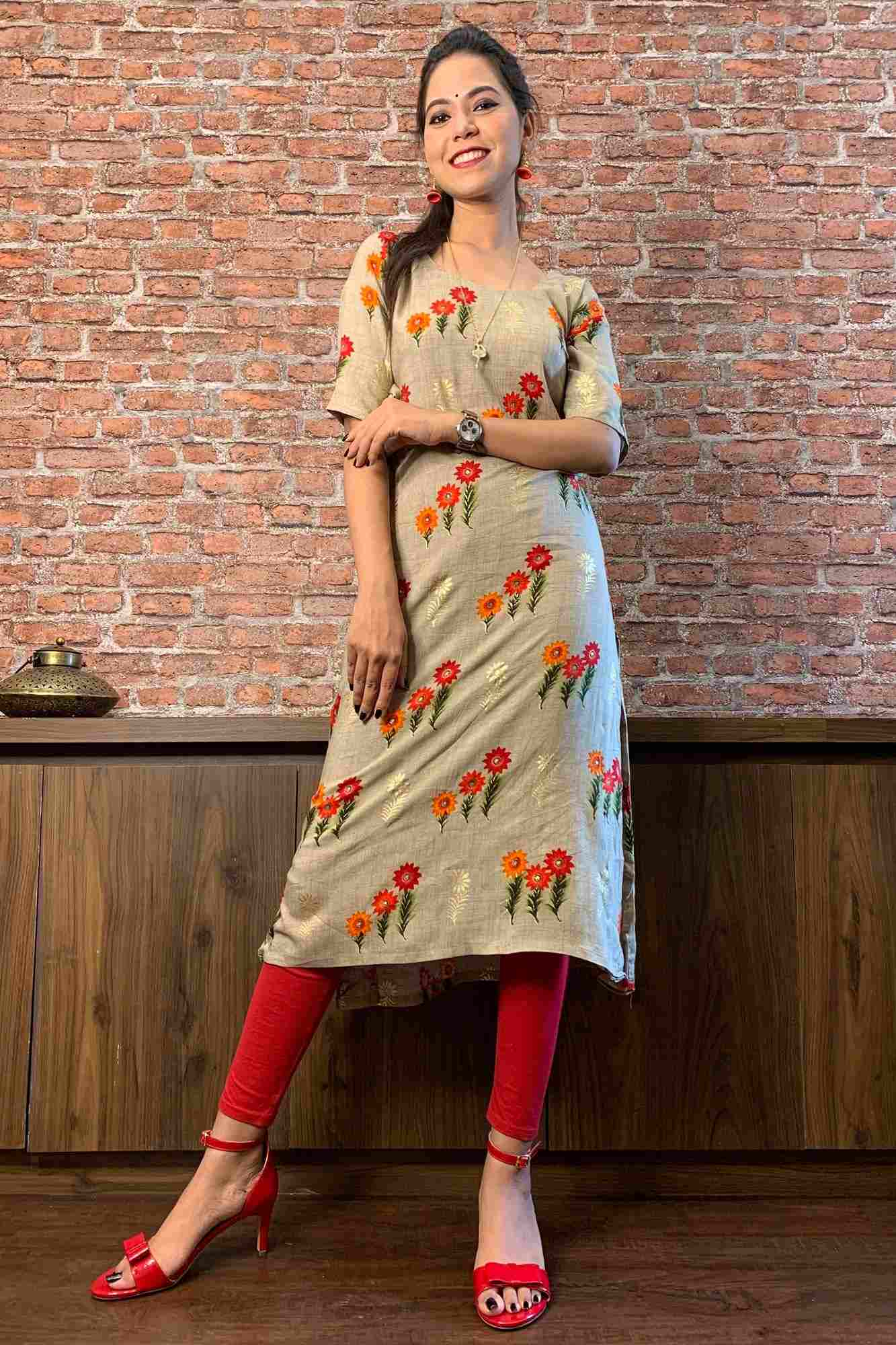 Grey Printed Long Kurti