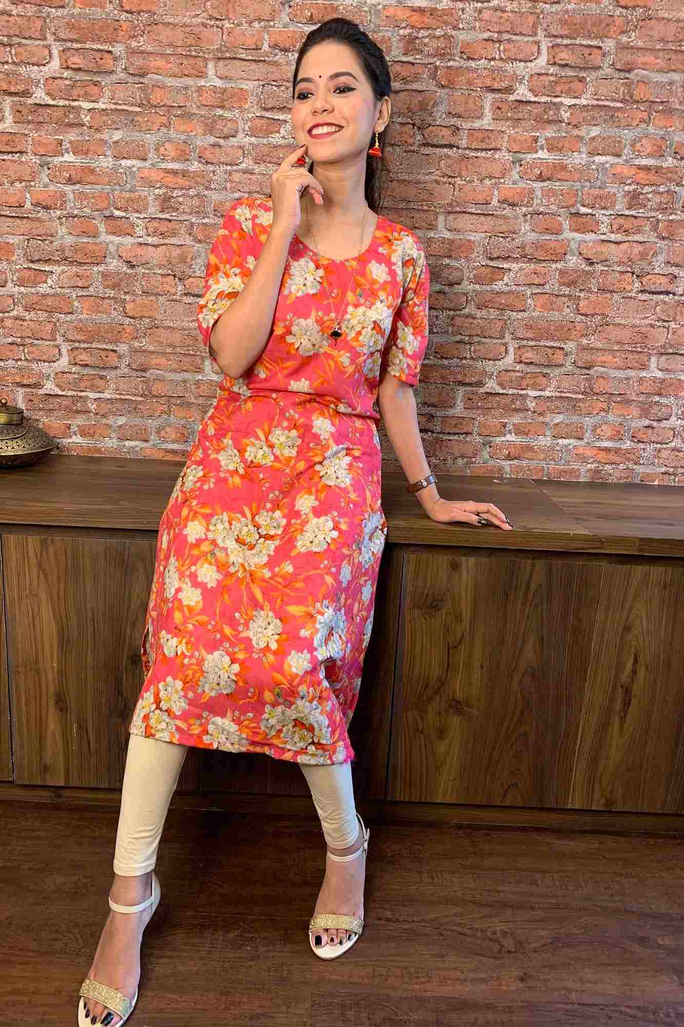 Peach Floral Printed Long Kurti
