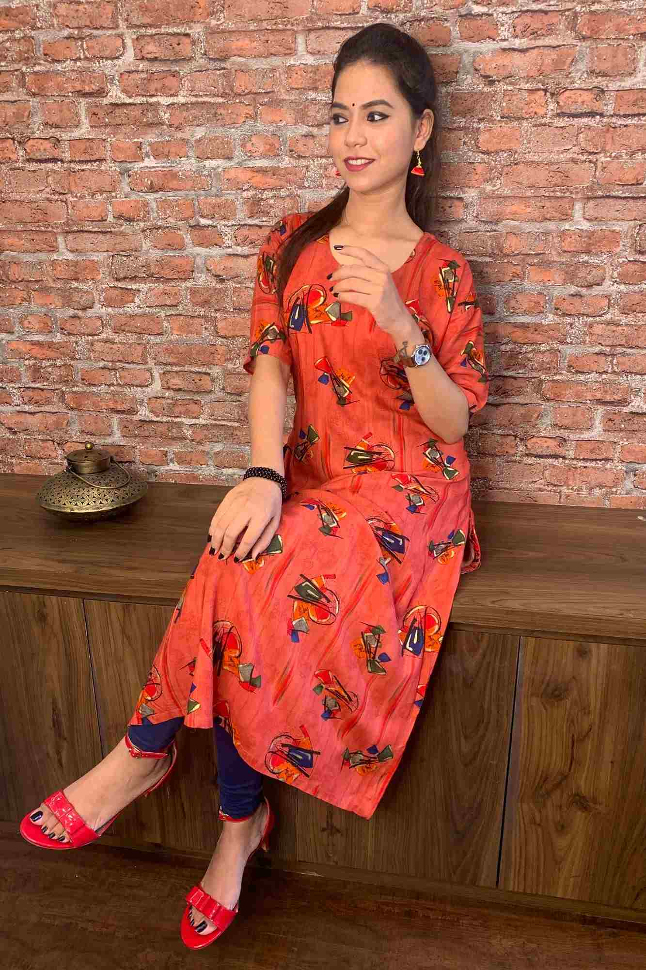 Dark Orange Printed Kurti