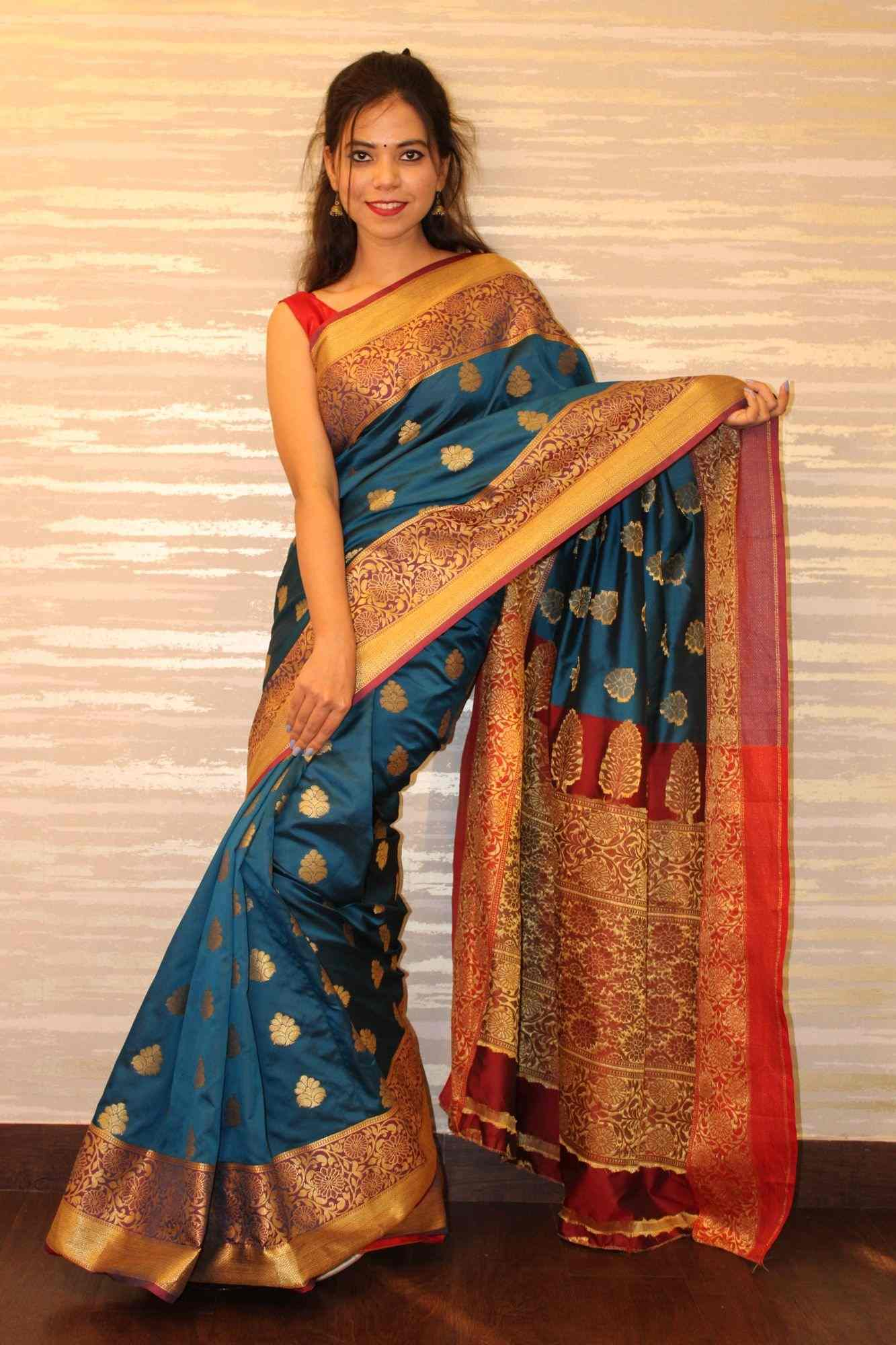 Turquoise blue kanchipuram wrap in 1 minute saree