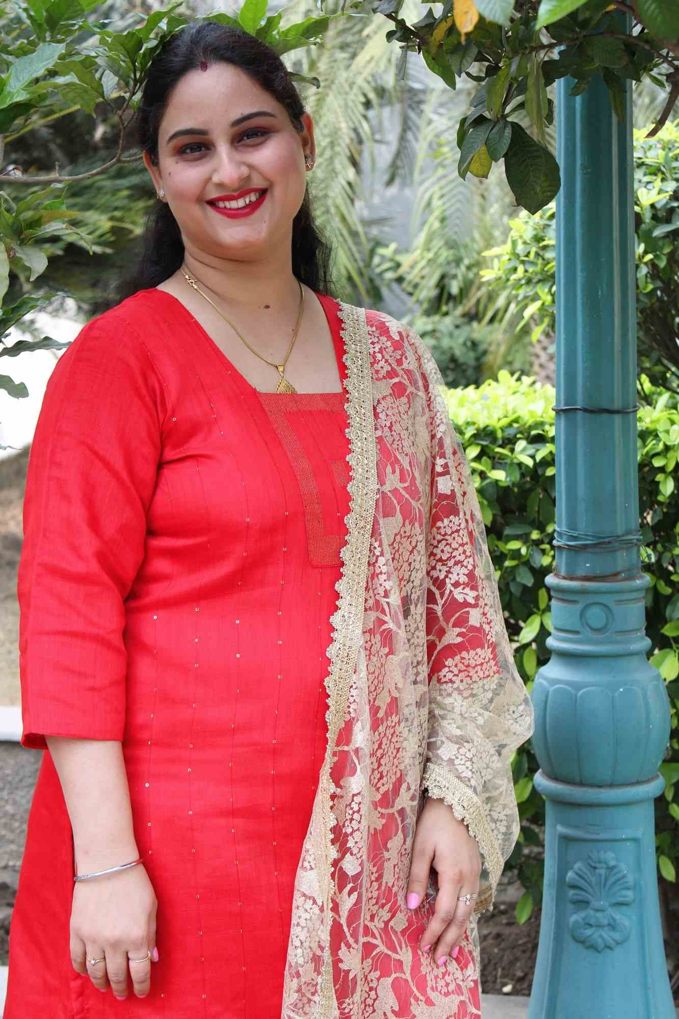 Festive Red cotton silk with sequins all over readymade kurta
