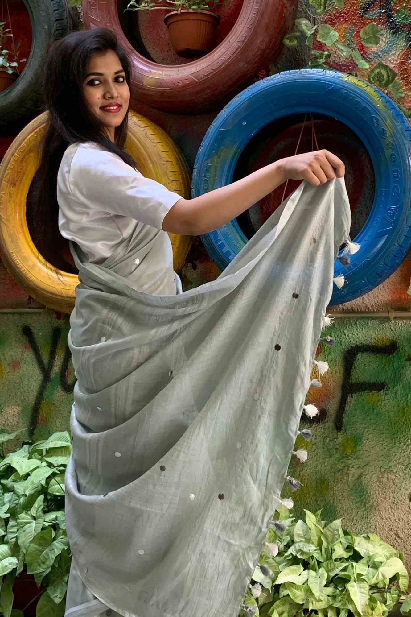 Silver bhagalpuri linen silk with chumki mirrors all over wrap in 1 minute saree