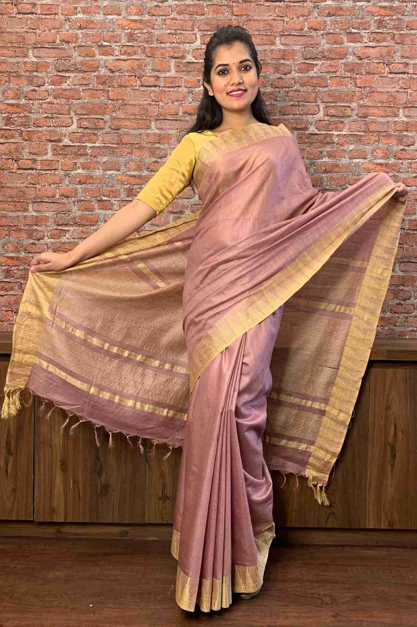 Pinkish rose gold with temple border cotton silk wrap in 1 minute saree