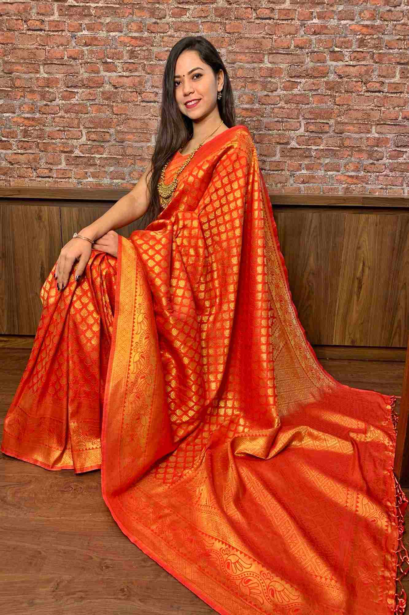 Red Gold Woven Banarasi silk Wrap In 1 Min saree
