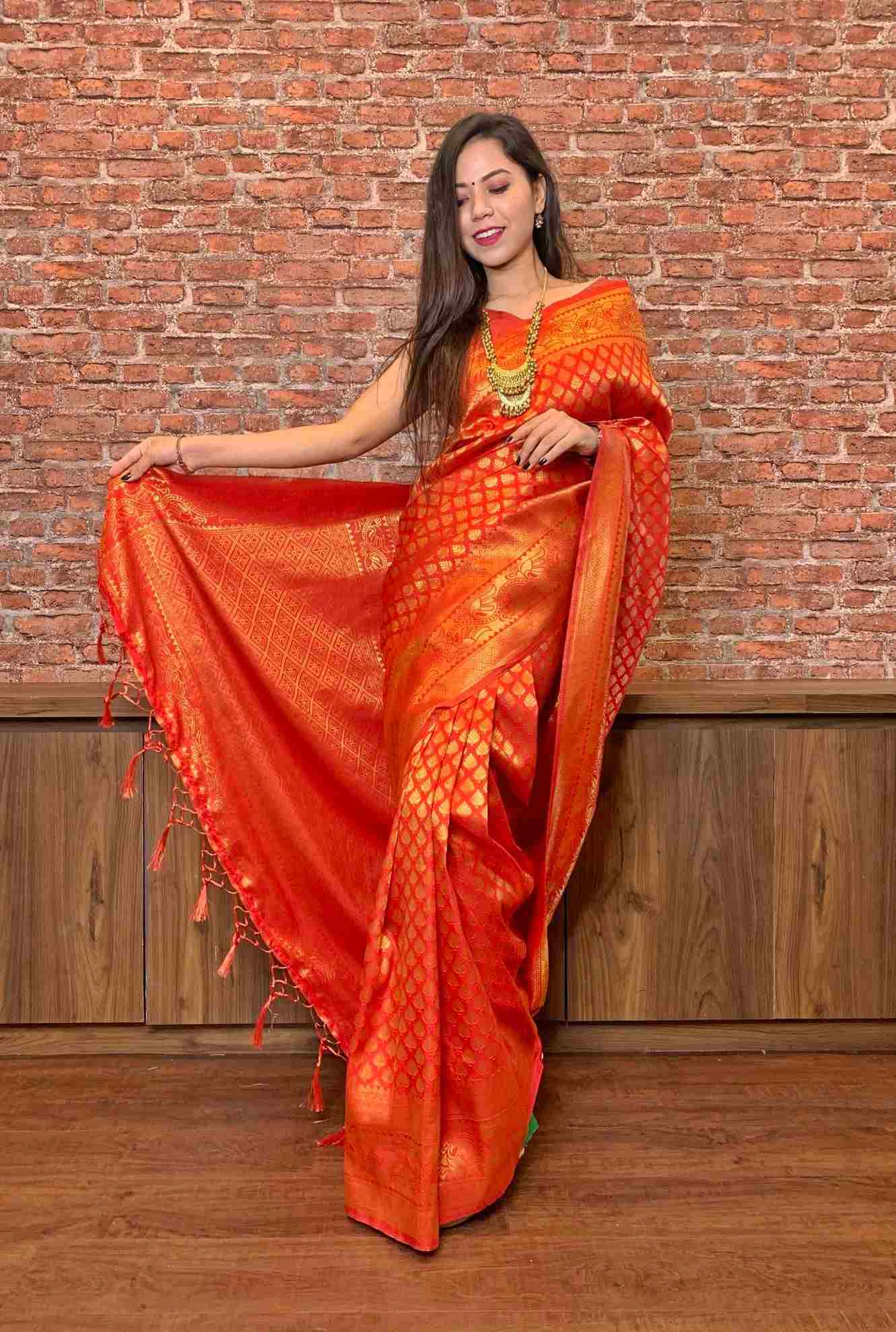 Red Gold Woven Banarasi silk Wrap In 1 Min saree - Only Prepaid