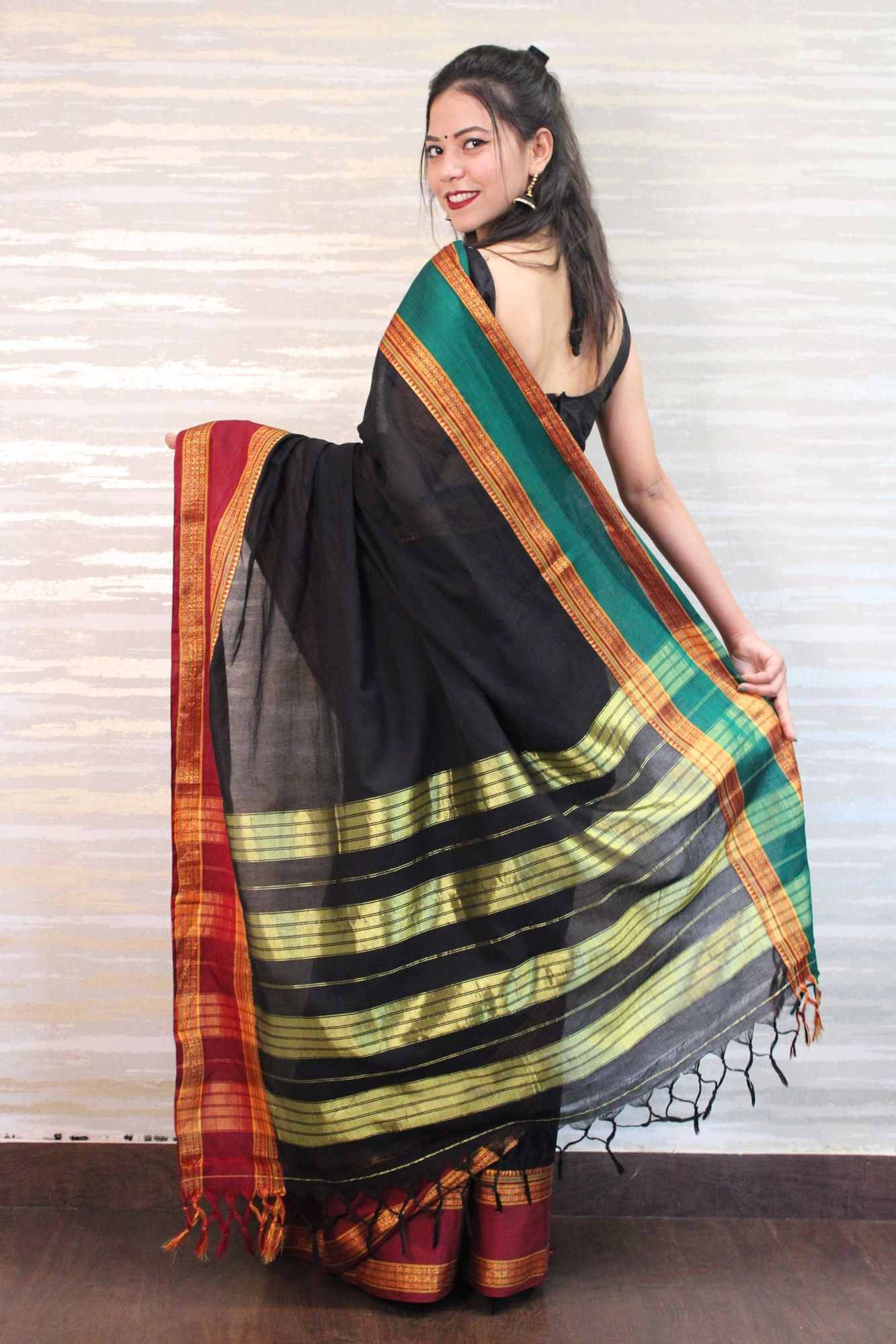 Brick Red woven banarsi silk Wrap in 1 min saree - Only Prepaid