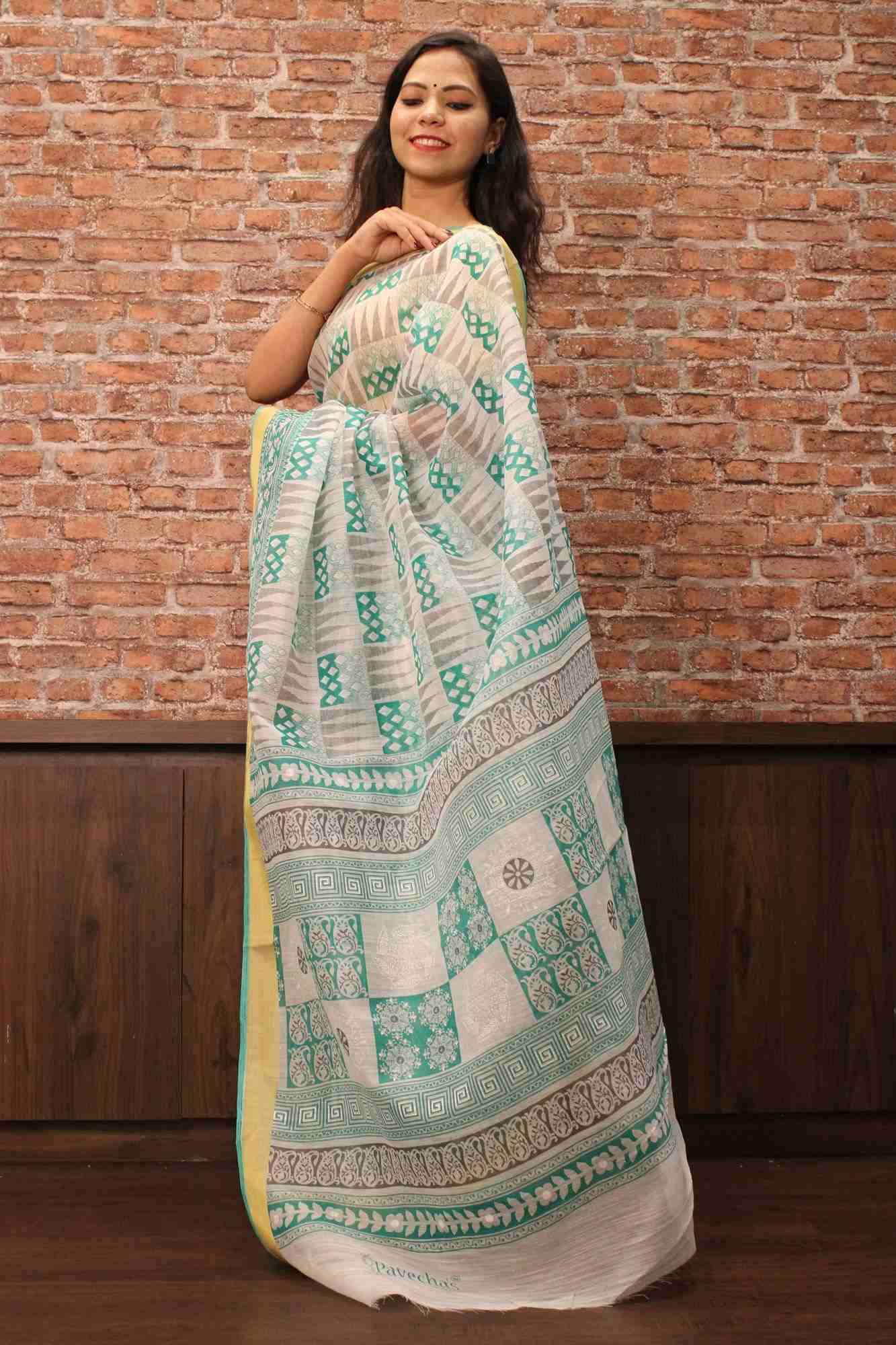 Cotton venkatgiri print wrap in 1 minute saree with thin zari border