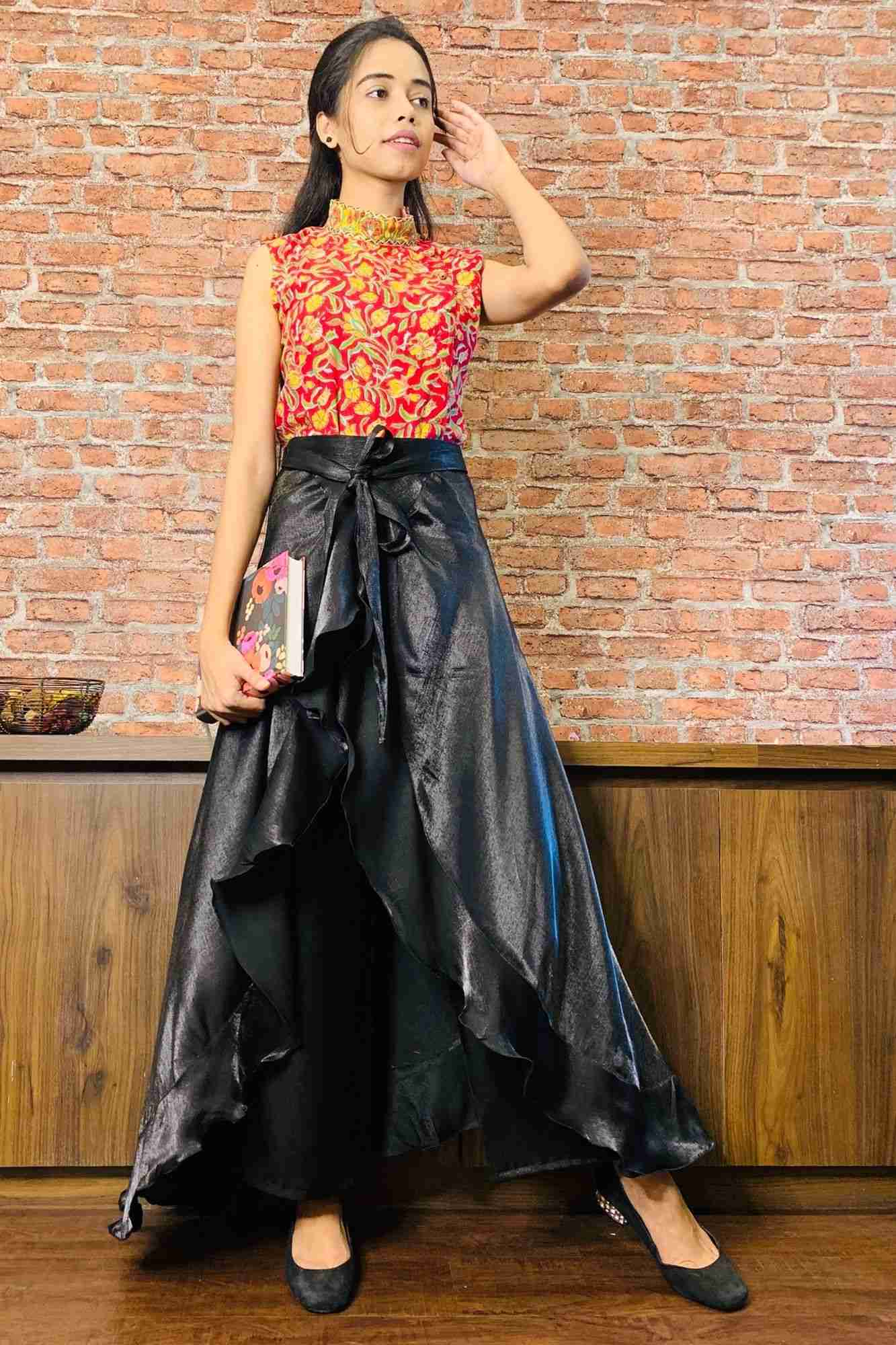 Classy & comfy black apple silk pant skirt