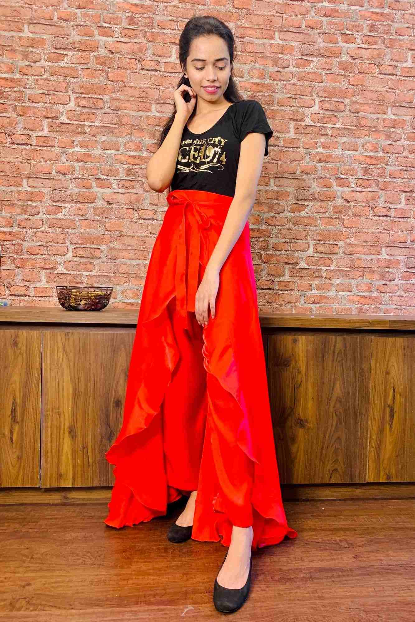 Classy & comfy red apple silk pant skirt