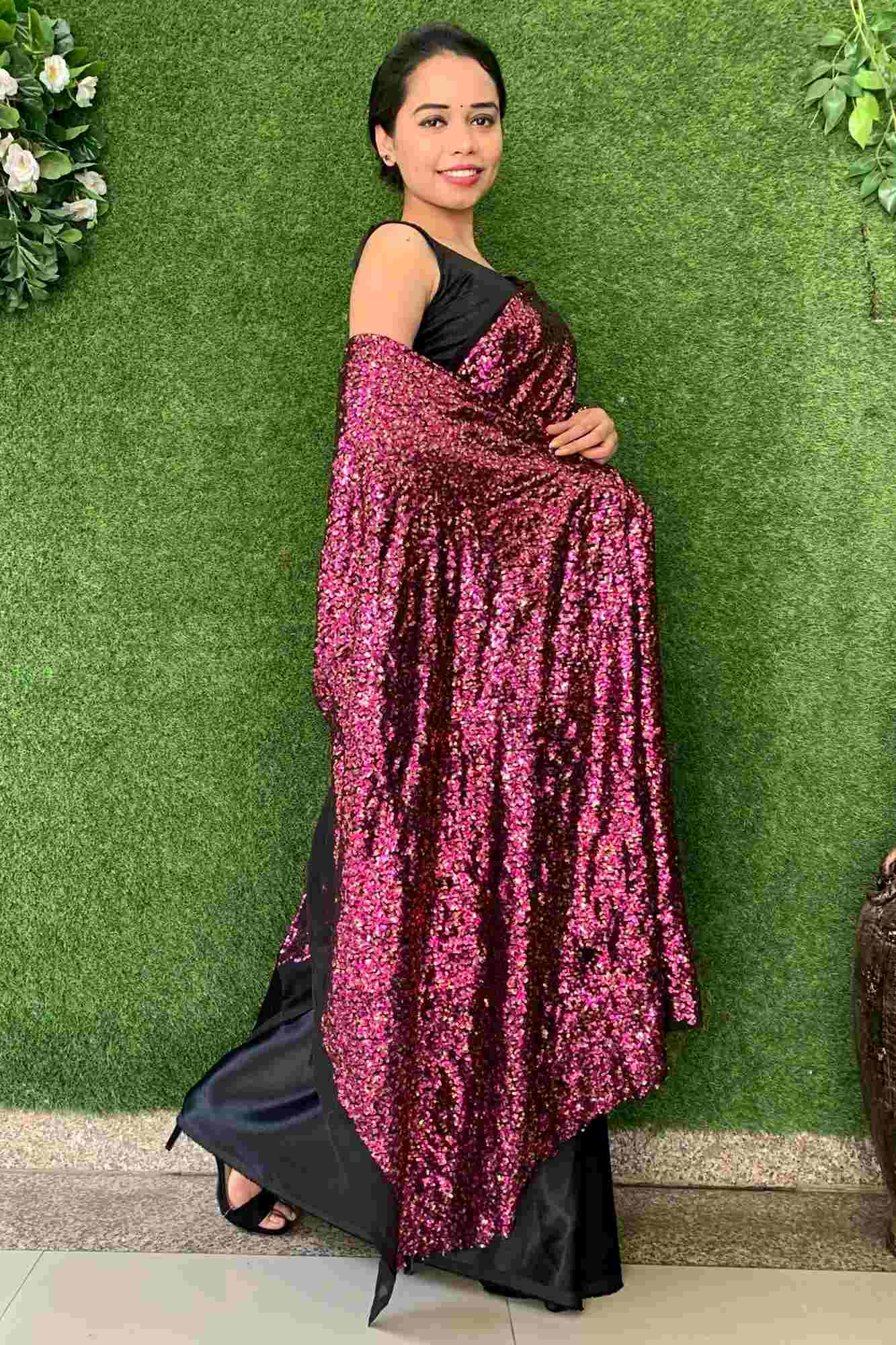 Party wear dense sequin and satin half n half wrap in 1 minute saree