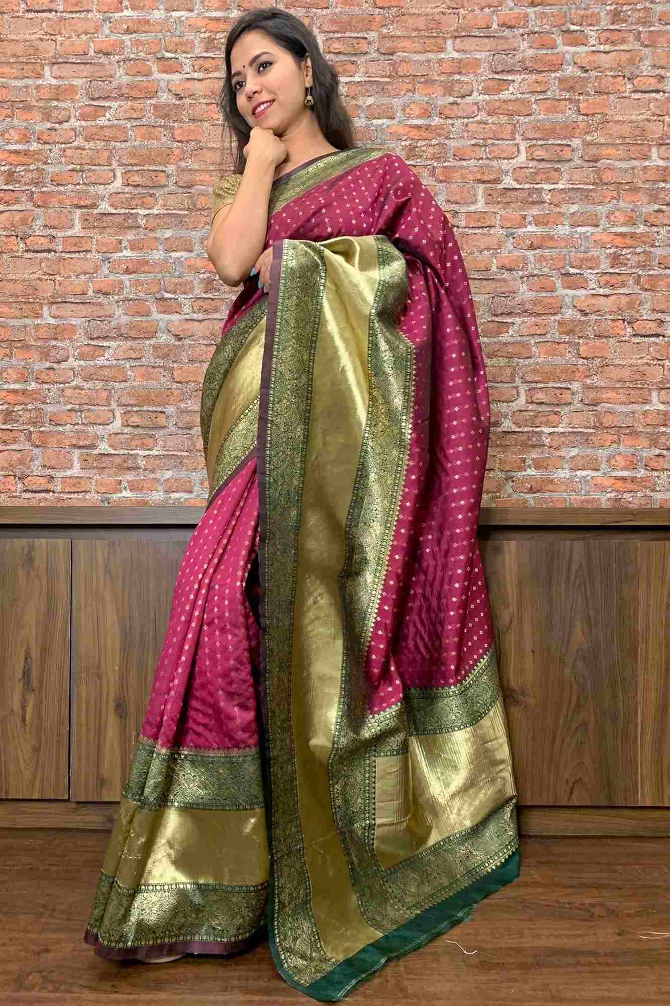 Magenta & gold woven banarasi wrap in 1 minute saree with broad zari pattu border