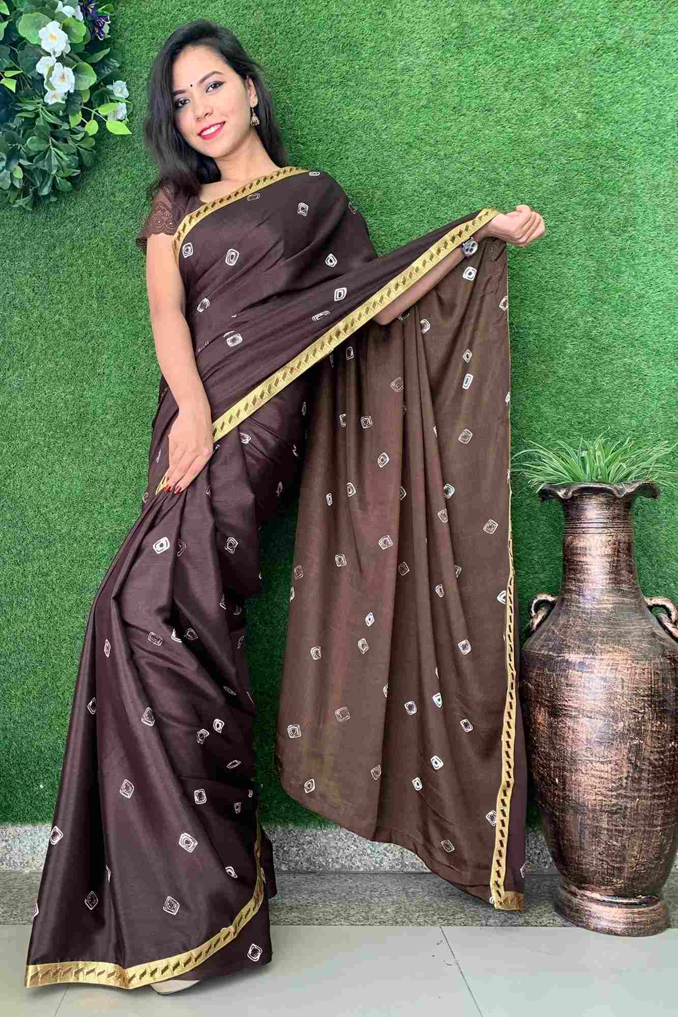 Printed crepe stylish wrap in 1 minute saree
