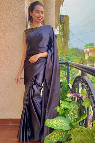 Black satin wrap in 1 minute saree