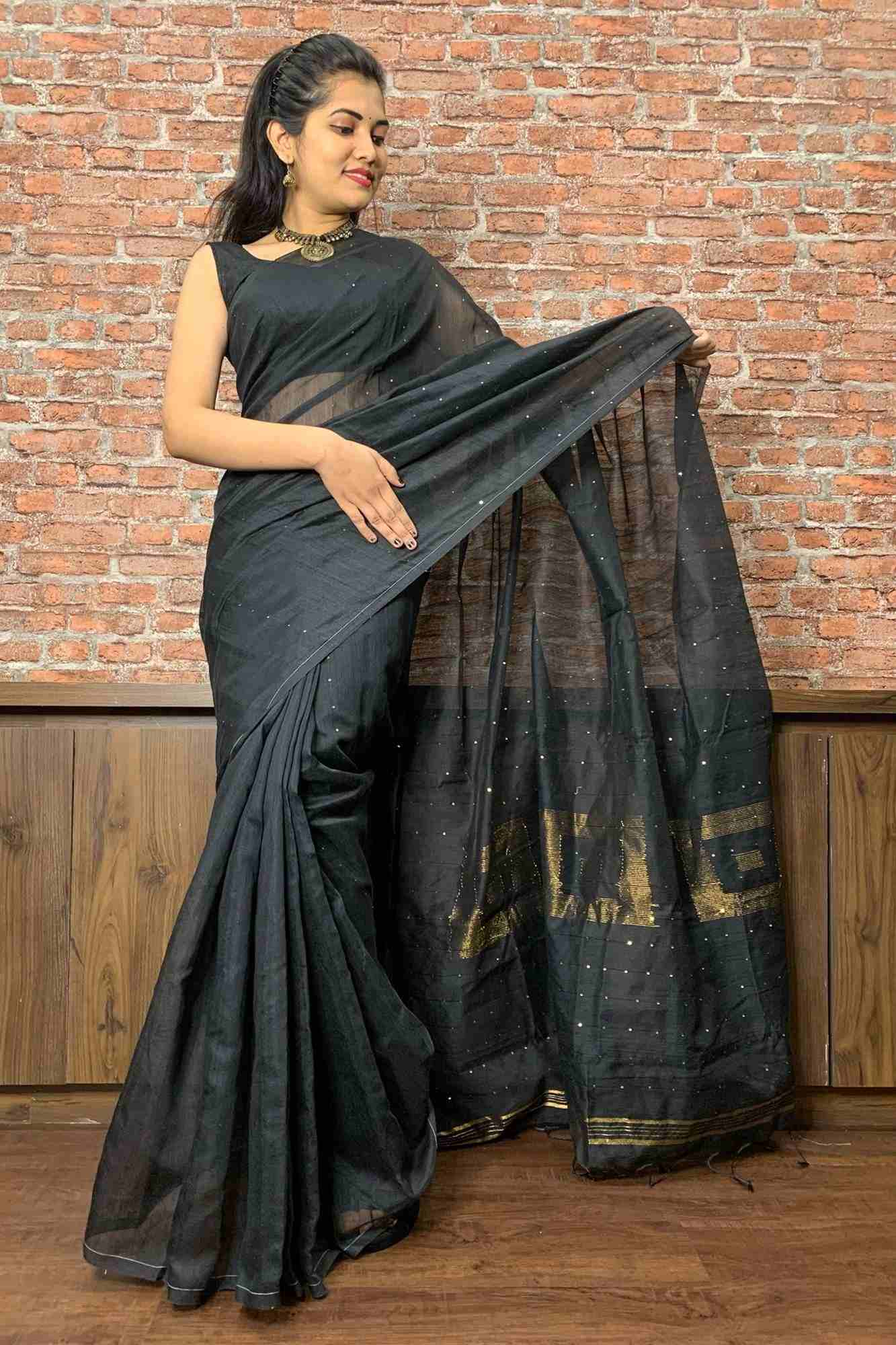Handloom cotton silk with tiny sequins woven wrap in 1 minute saree