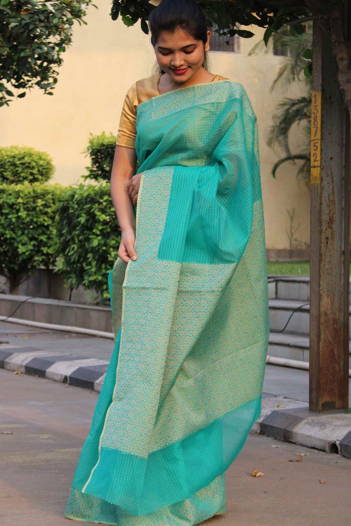 Banarasi woven resham brocade border and pallu sea green wrap in 1 minute saree