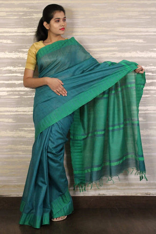 Green madhubani art silk wrap in 1 minute saree