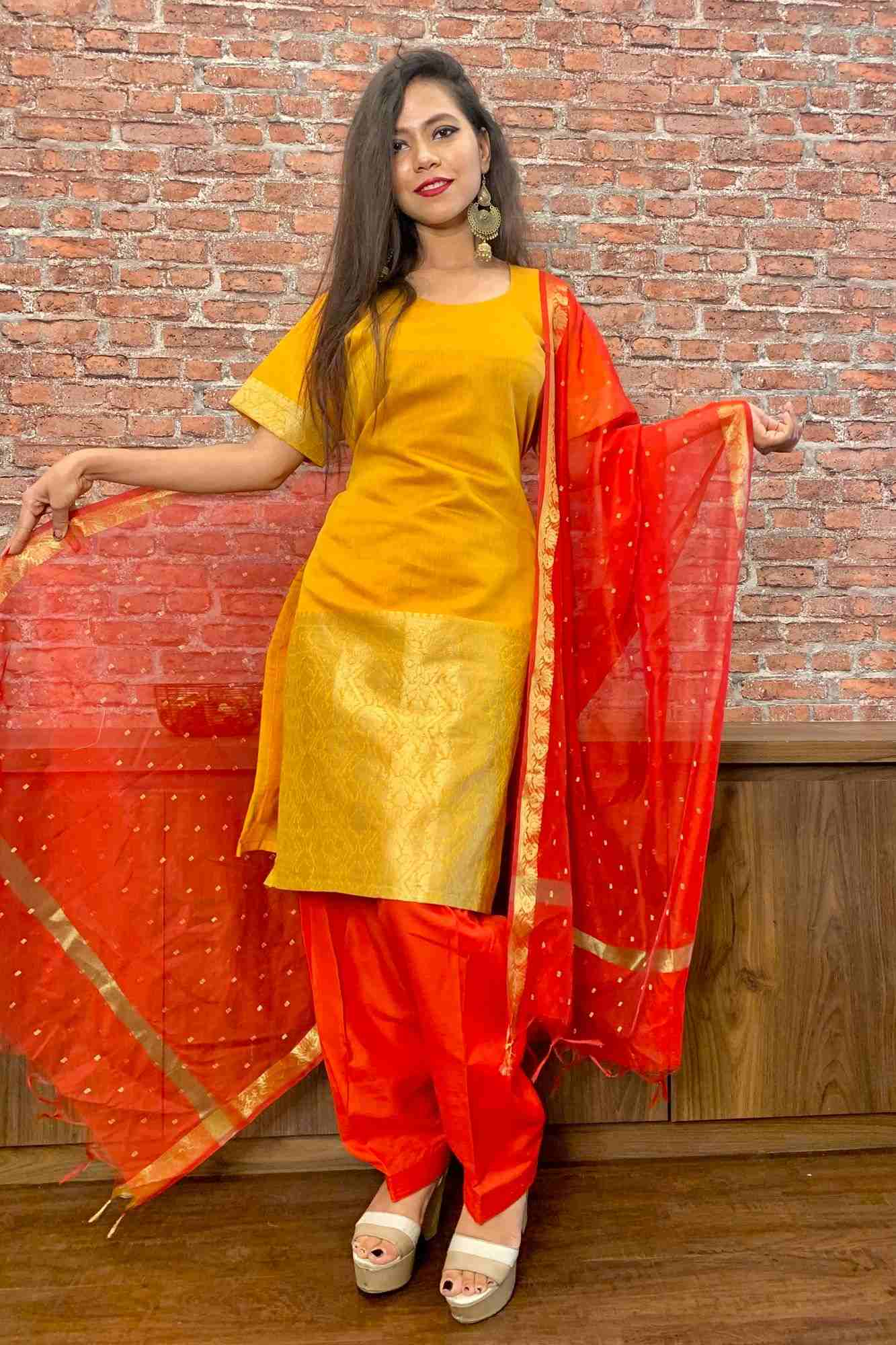 Chanderi cotton silk readymade salwar kameez