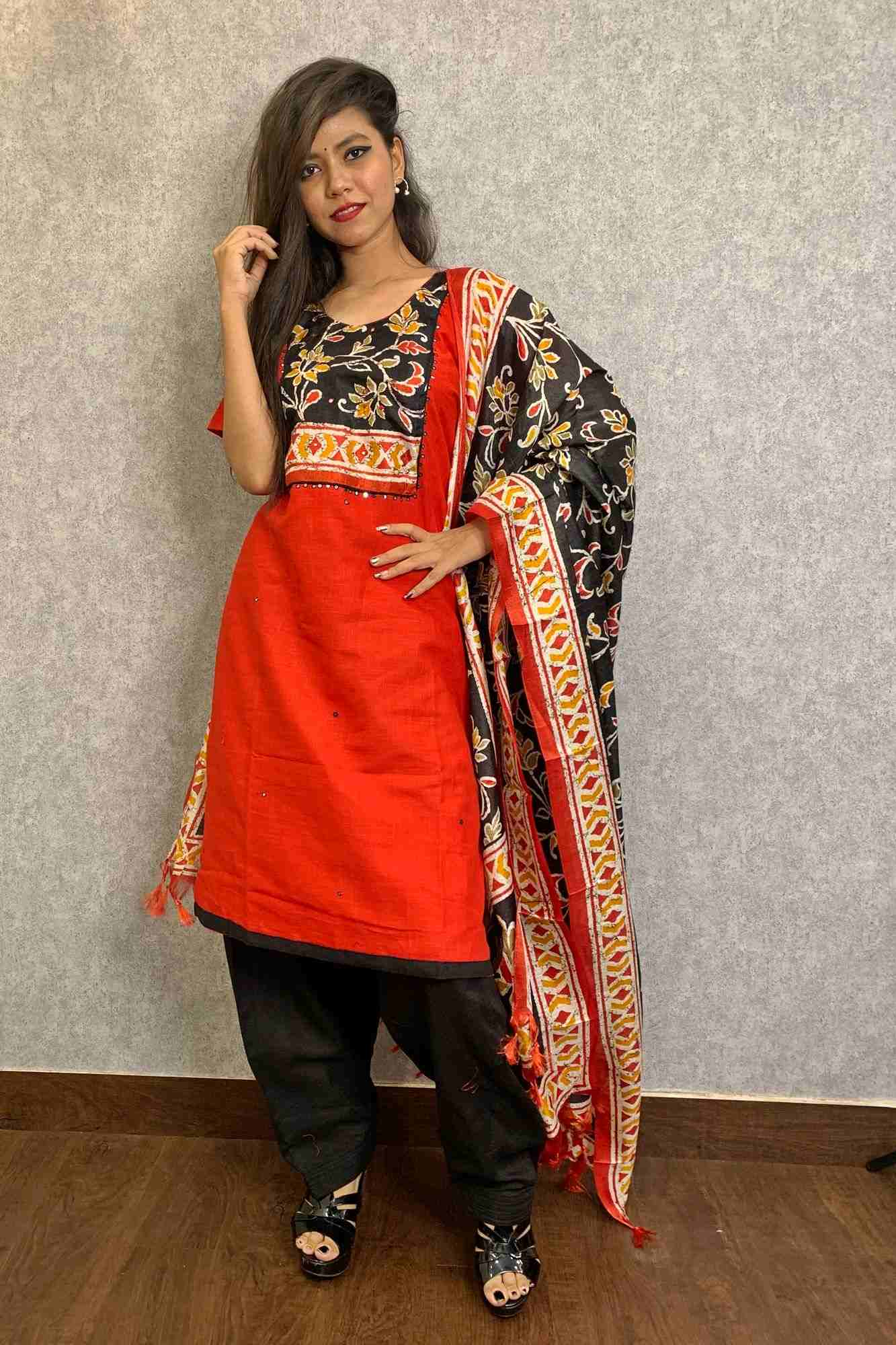 Beautiful red & black salwar kameez with dupatta