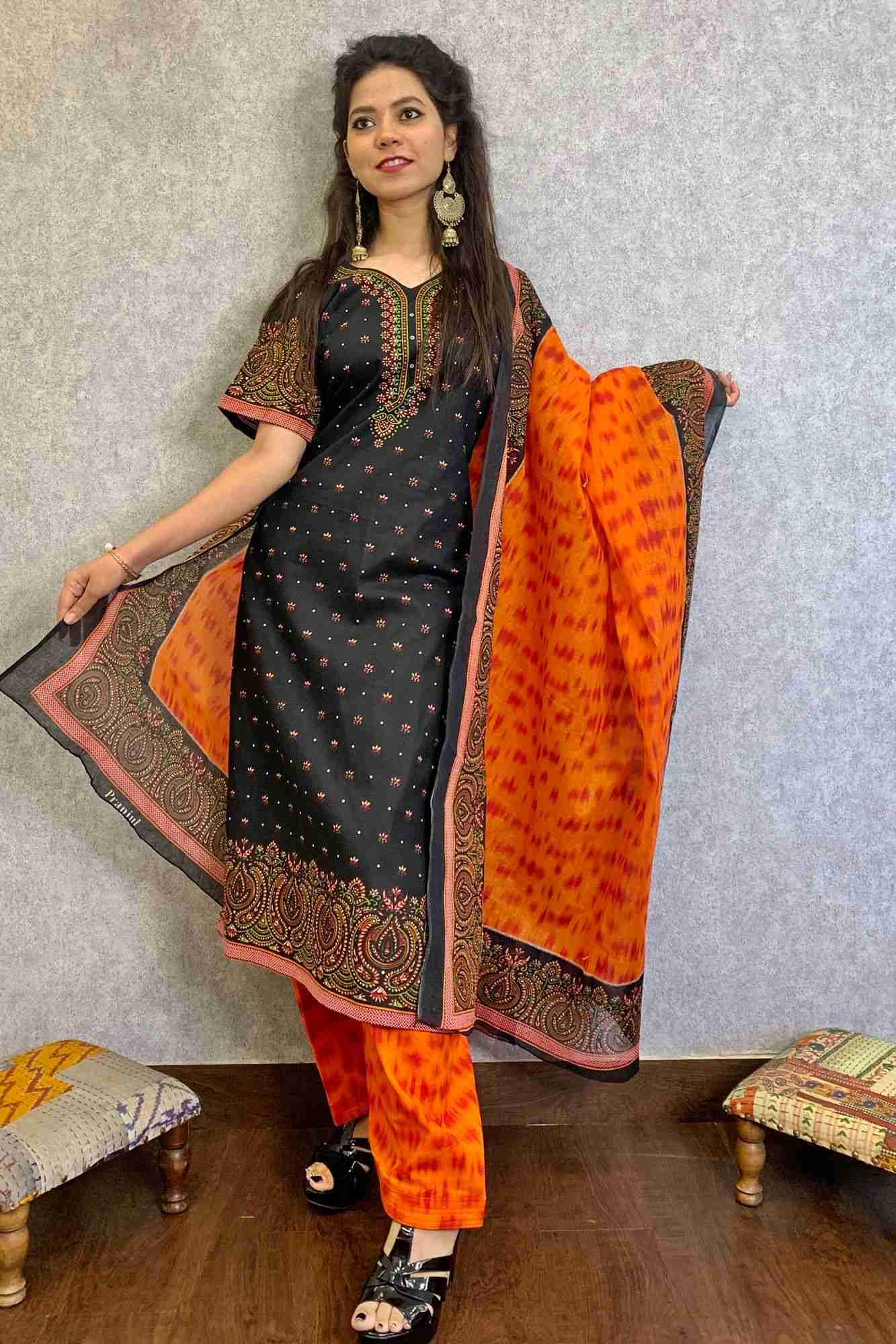 Pure cotton bandhani pattern ready to wear salwar kameez