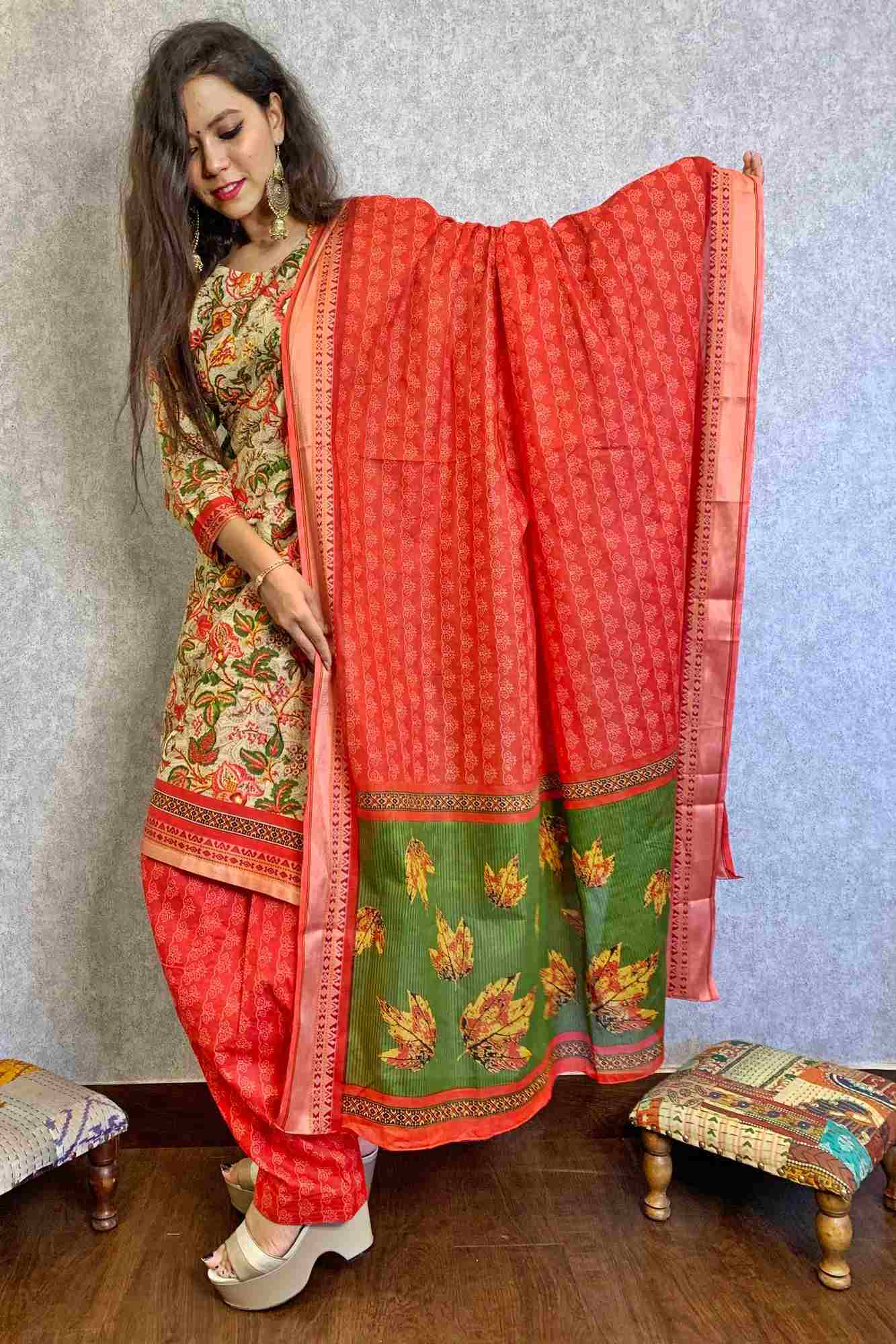 Chanderi floral print cotton reaadymade salwar suit