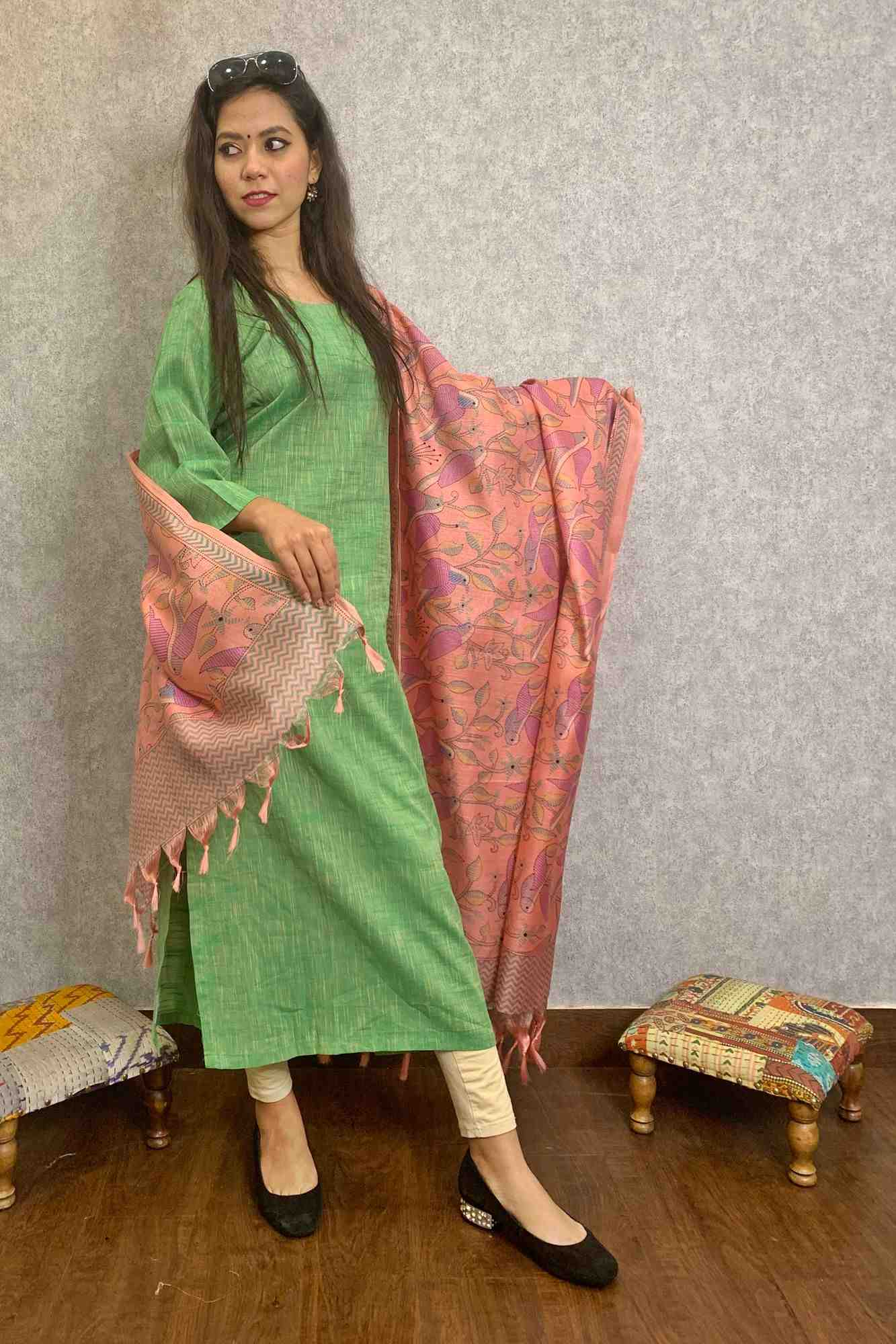 Readymade Cotton Salwar Kameez with Khadi Silk Dupatta
