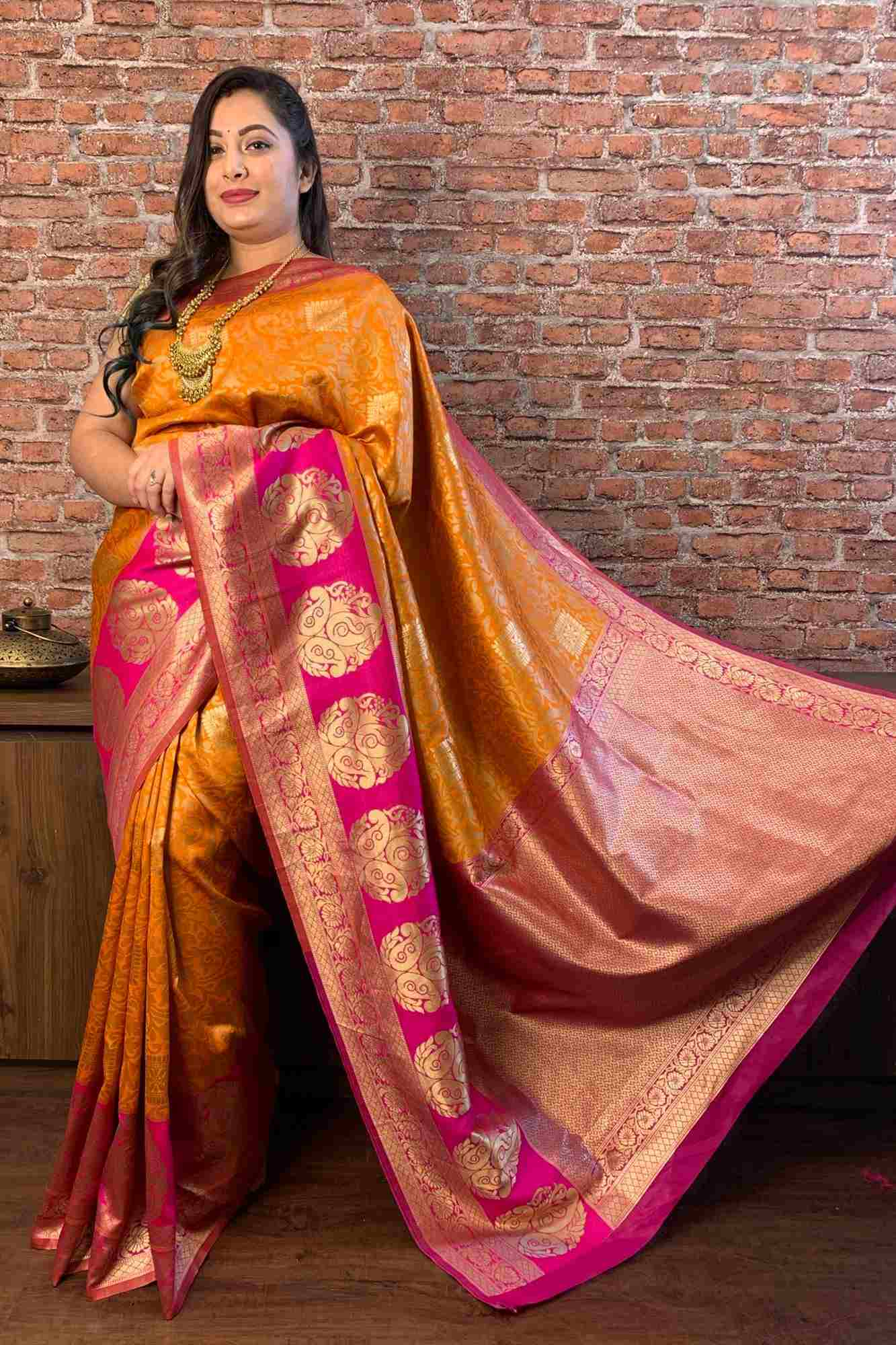 Kanjeevaram woven design with woven border wrap in 1 minute saree