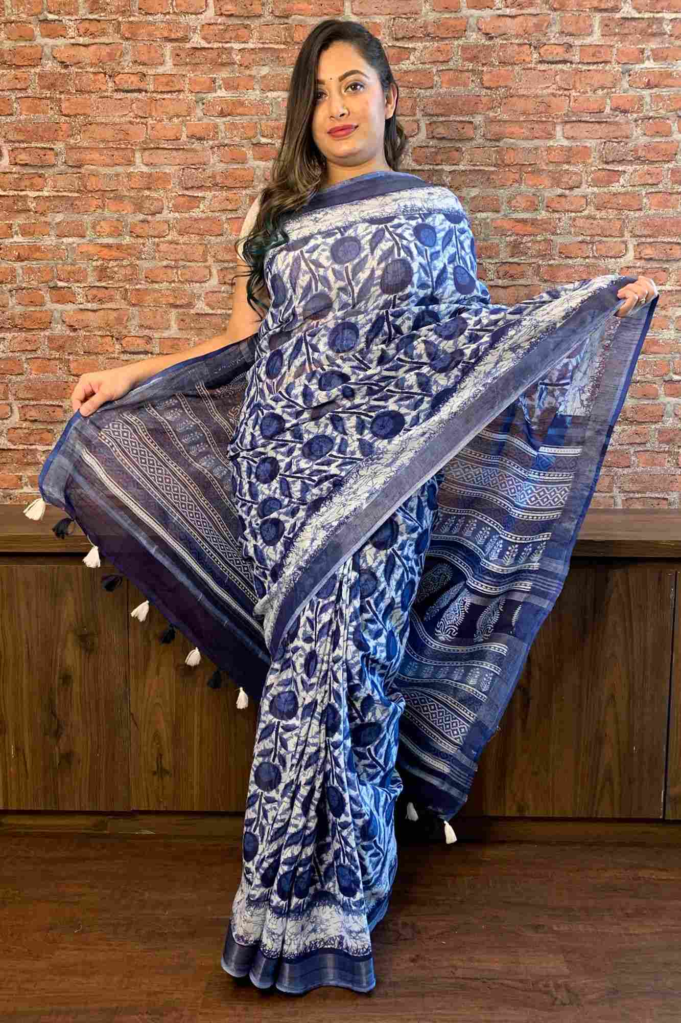 Blue Sanganeri floral cotton printed with tassels in pallu wrap in 1 minute saree