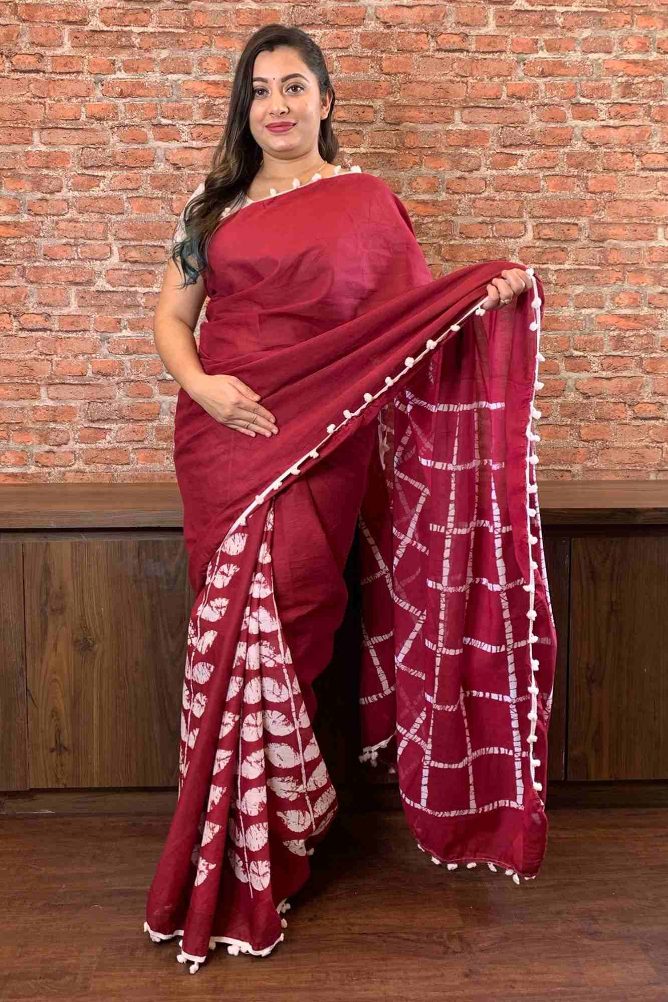 Burgundy hand block mul mul cotton wrap in 1 minute saree with pom pom