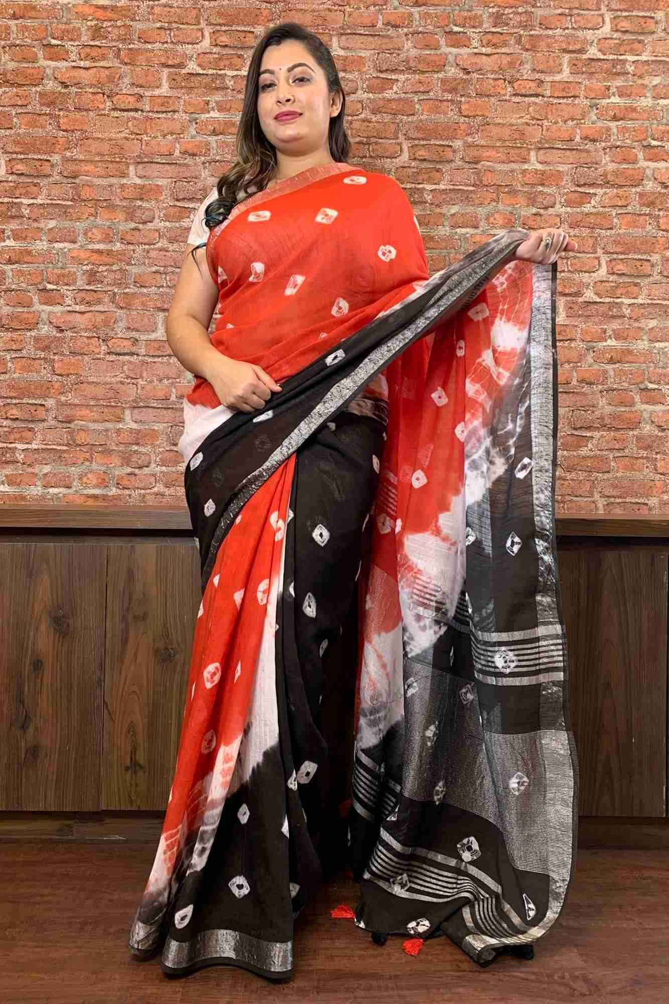 Tie and dye linen cotton wrap in 1 minute saree with tassels in pallu & zari border