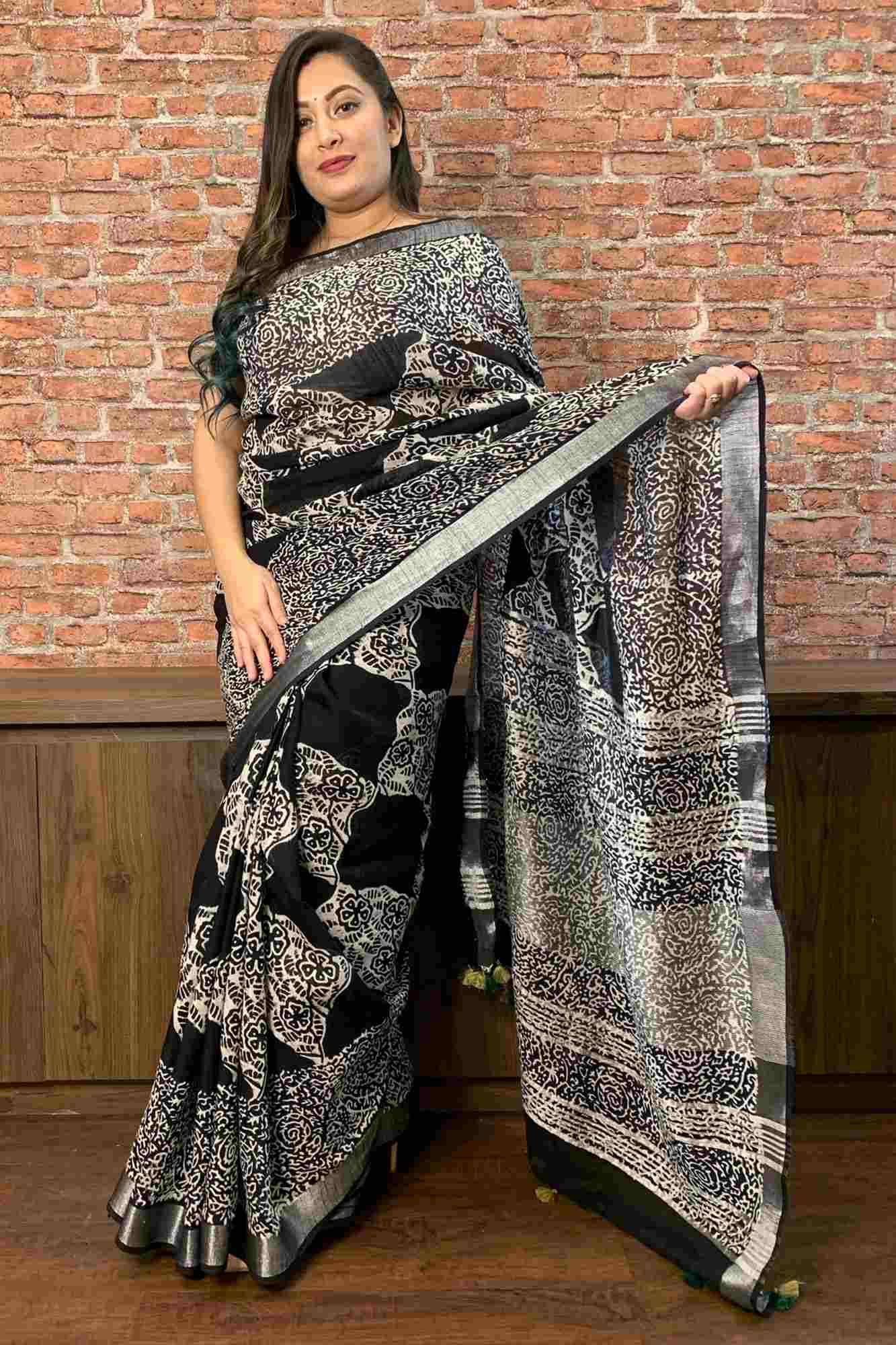 Black and white jaipuri print cotton linen zari border with tassels in pallu wrap in 1 minute saree