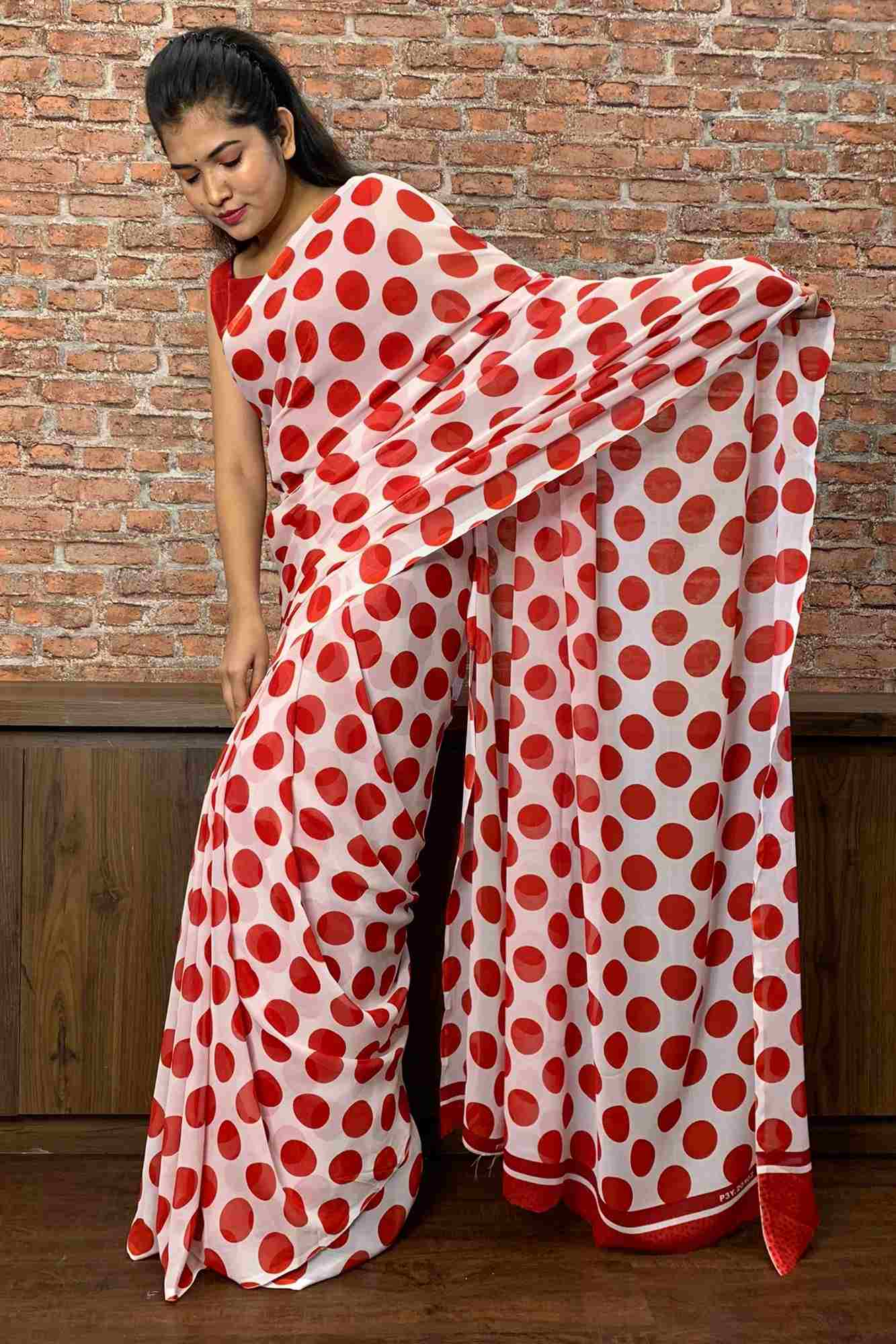 Red and white polka dot wrap in 1 minute saree