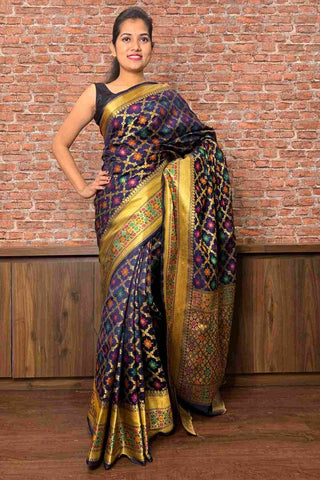 Banarasi silk blend woven wrap in 1 minute saree