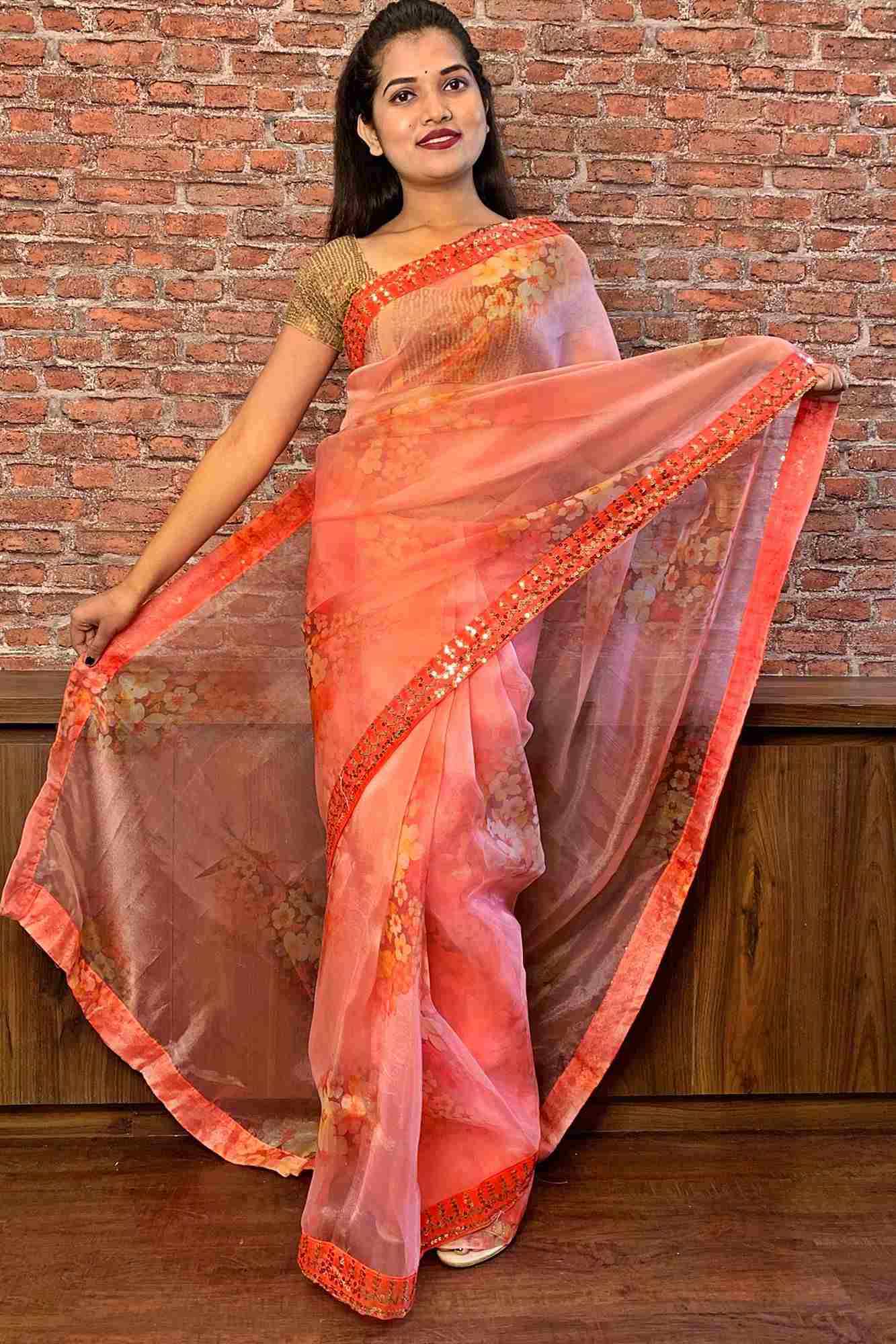Peach organza with sequin embroidery border wrap in 1 minute saree
