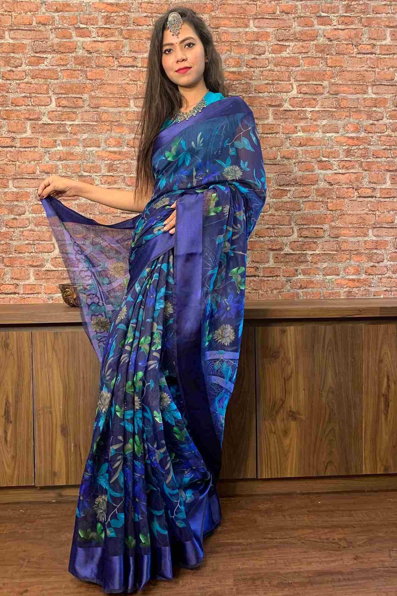 Blue cotton silk printed wrap in 1 minute saree