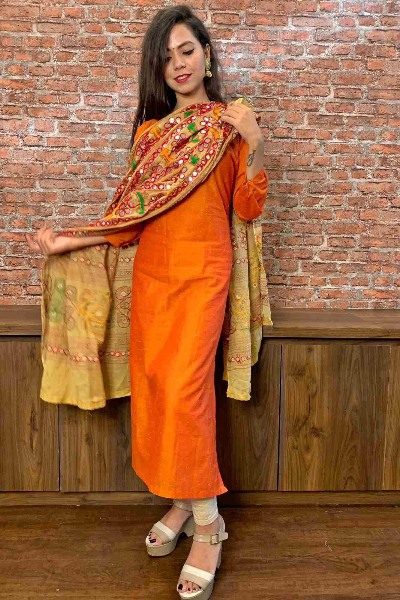 Readymade Kurta-Leggings with Kutch Embroidery Dupatta