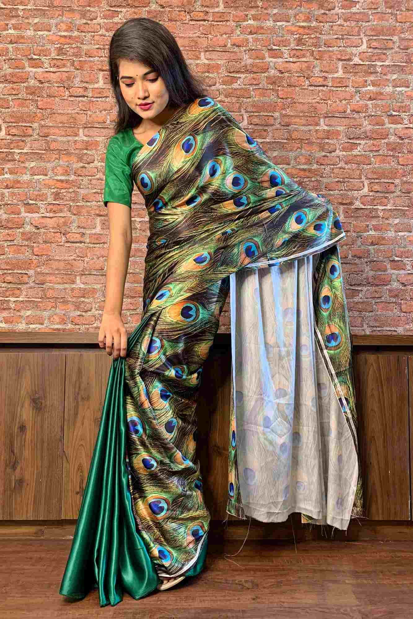 Peacock feather printed japan satin pallu and satin wrap in 1 minute saree