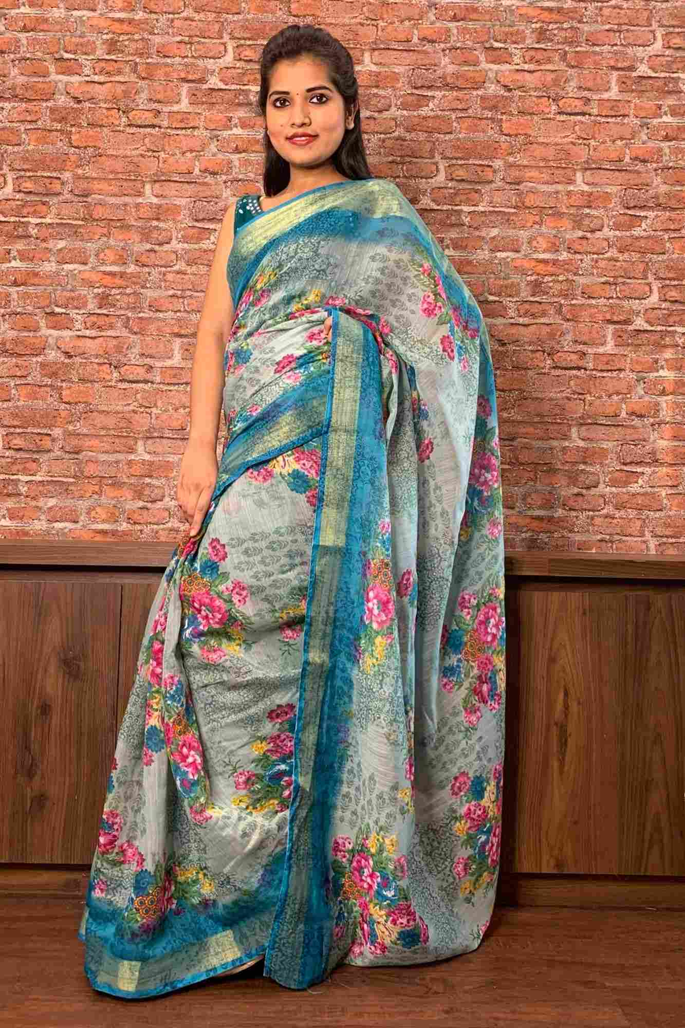 Greenish bluish mix floral linen blend with zari border & floral print wrap in 1 minute saree - End of Season Sale