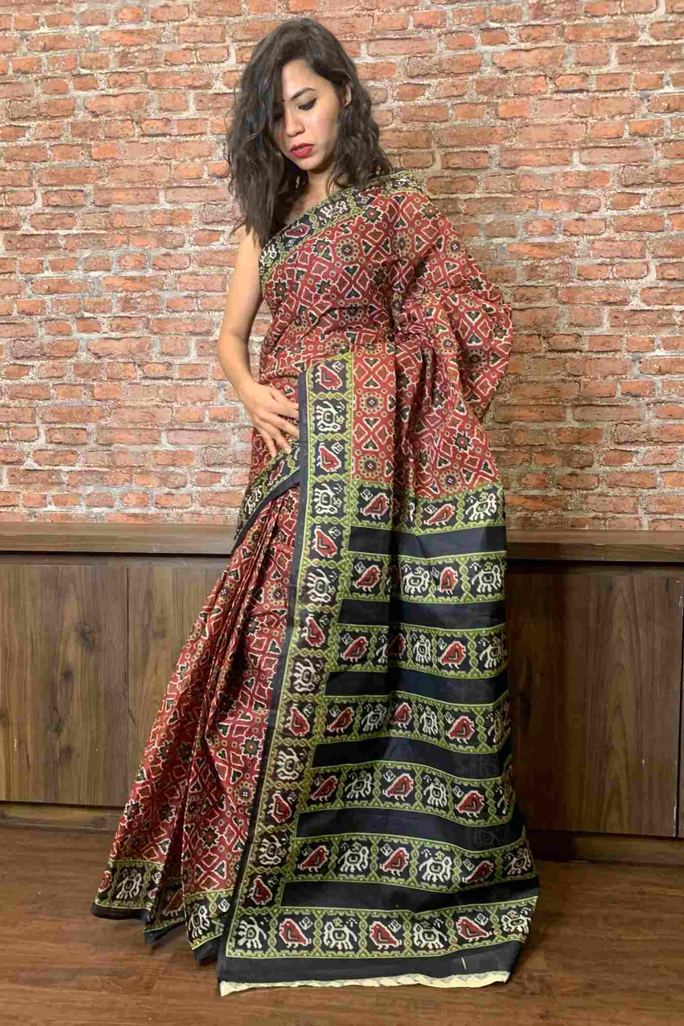 Pure cotton printed wrap in 1 minute saree