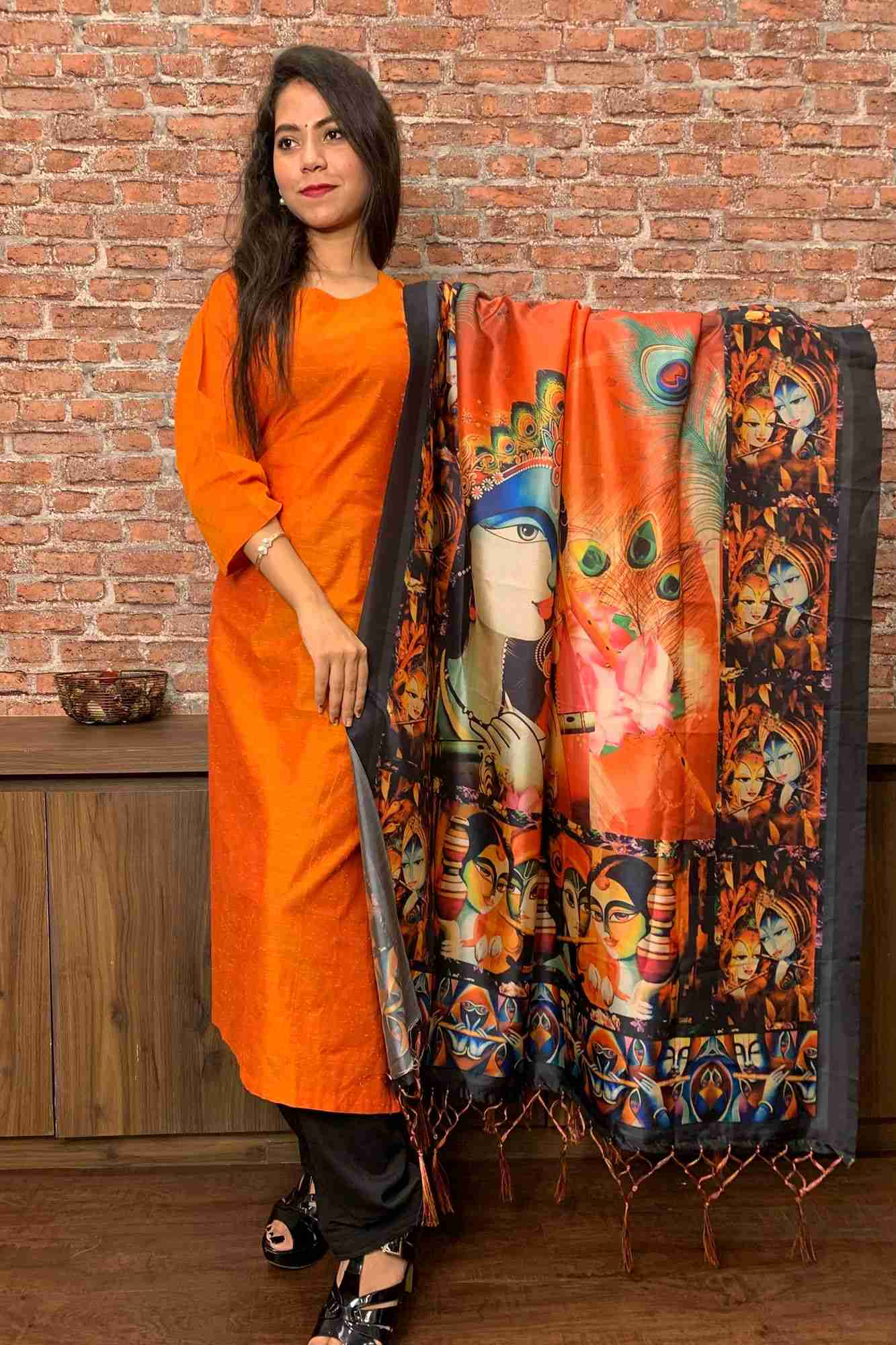 Khadi kameez with printed dupatta readymade salwar suit