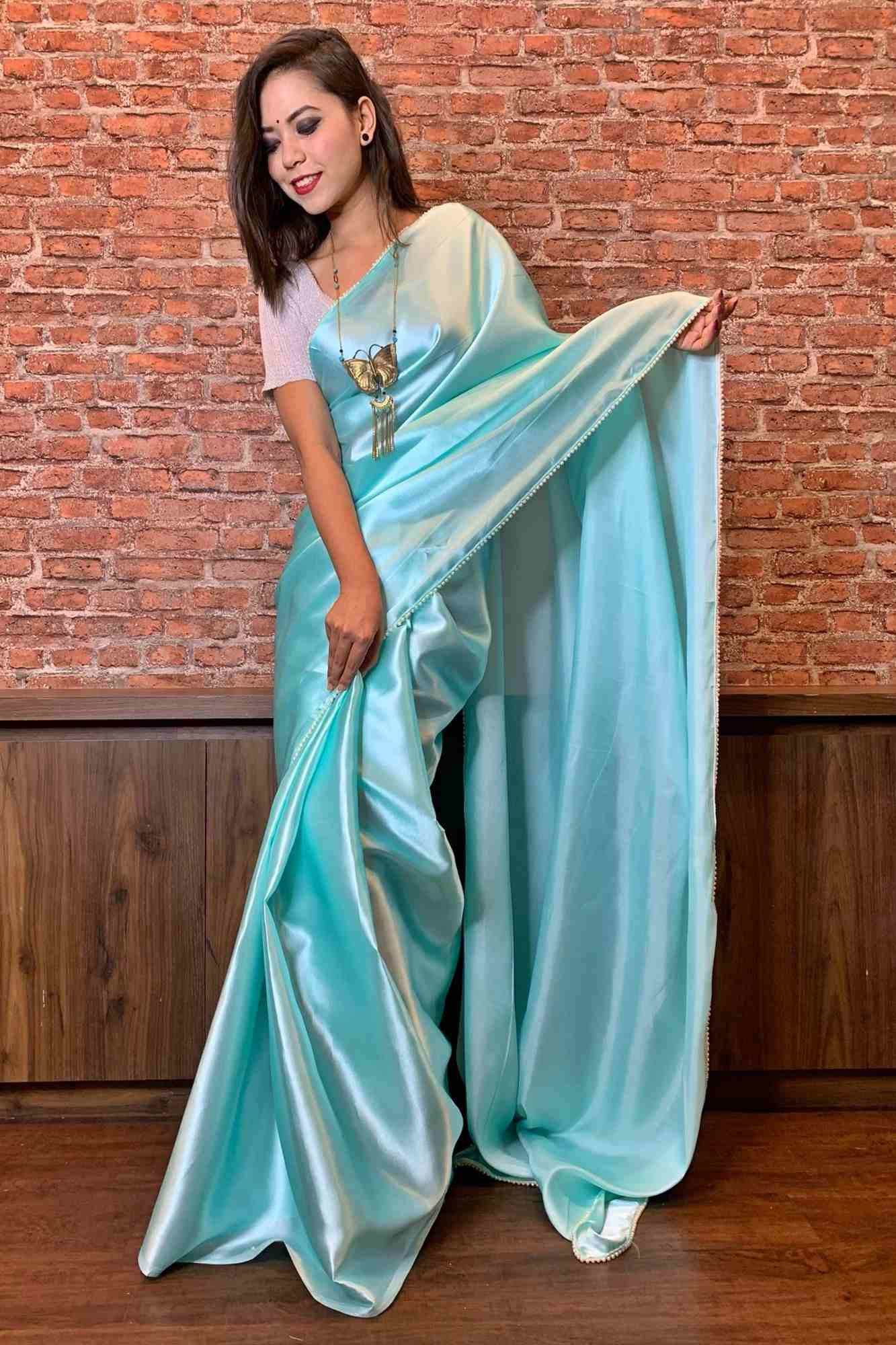 Light mint green satin with moti lace wrap in 1 minute saree