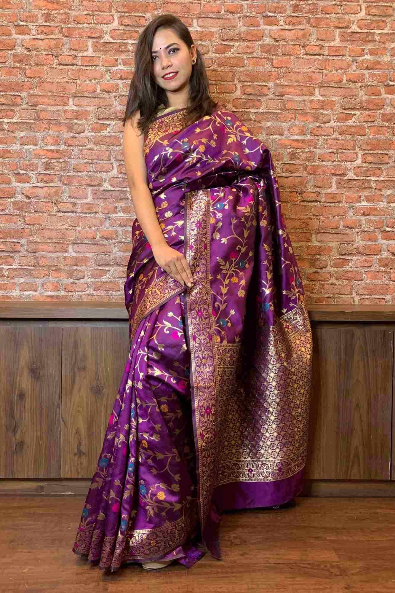 Violet kanchipuram zari woven art silk wrap in 1 minute saree