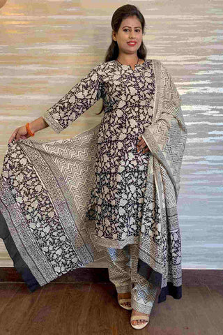 Bagru Hand Block Print Cotton Readymade Salwar Kameez with Dupatta