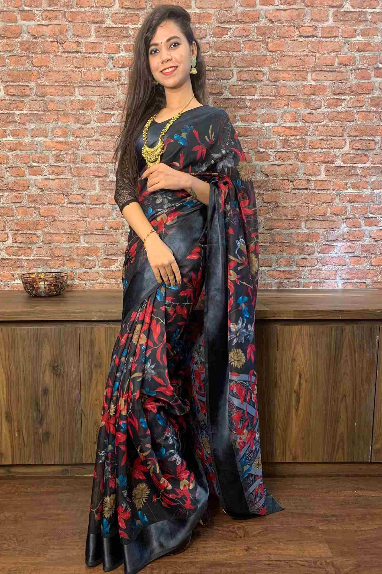 Cotton silk printed wrap in 1 minute saree
