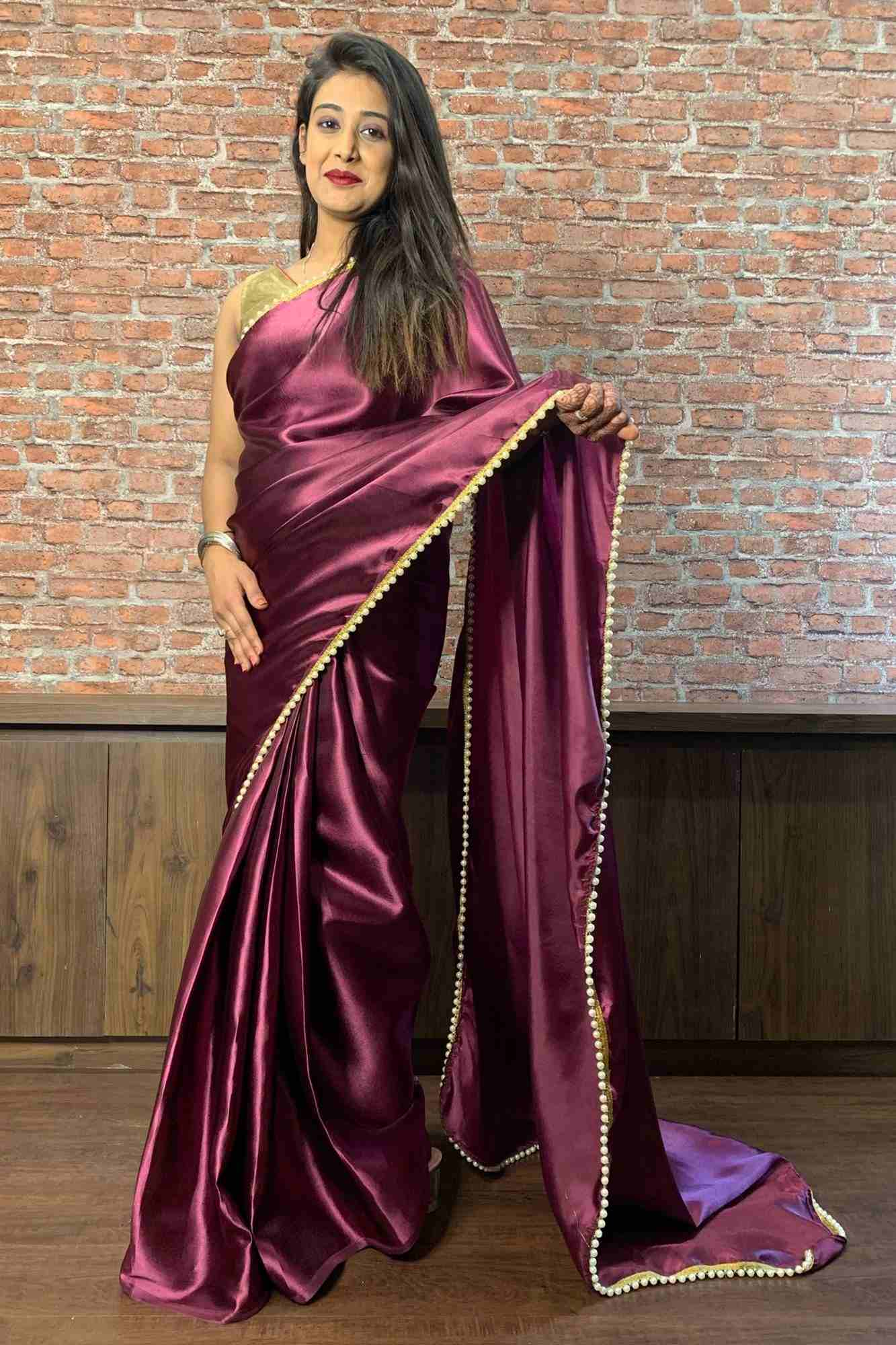 Royal purple satin wrap in 1 minute saree with moti lace