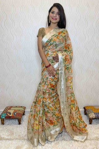 Light beige floral printed cotton silk wrap in 1 minute saree