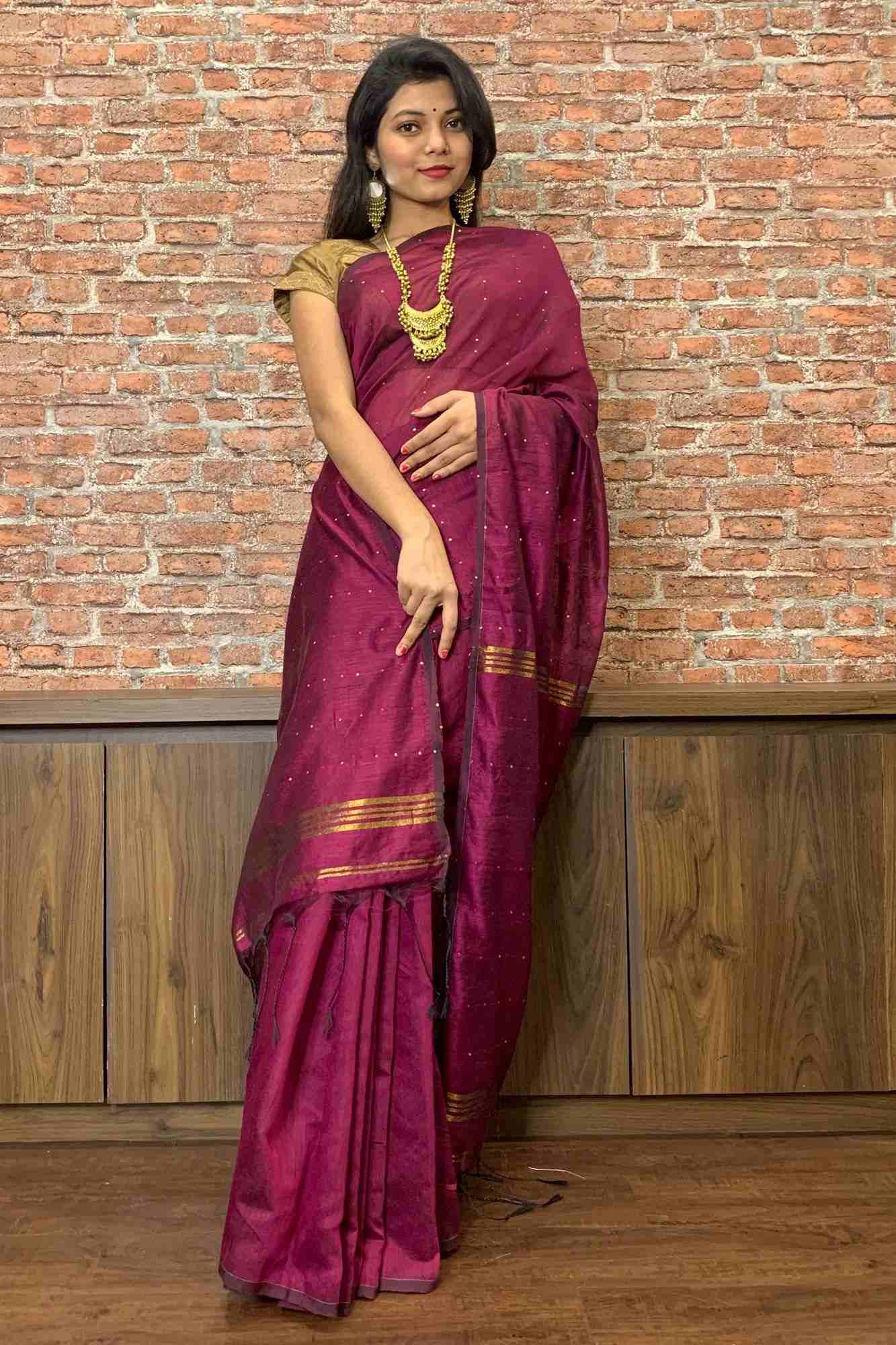 Dark pink handloom with tiny sequins all over wrap in 1 minute saree