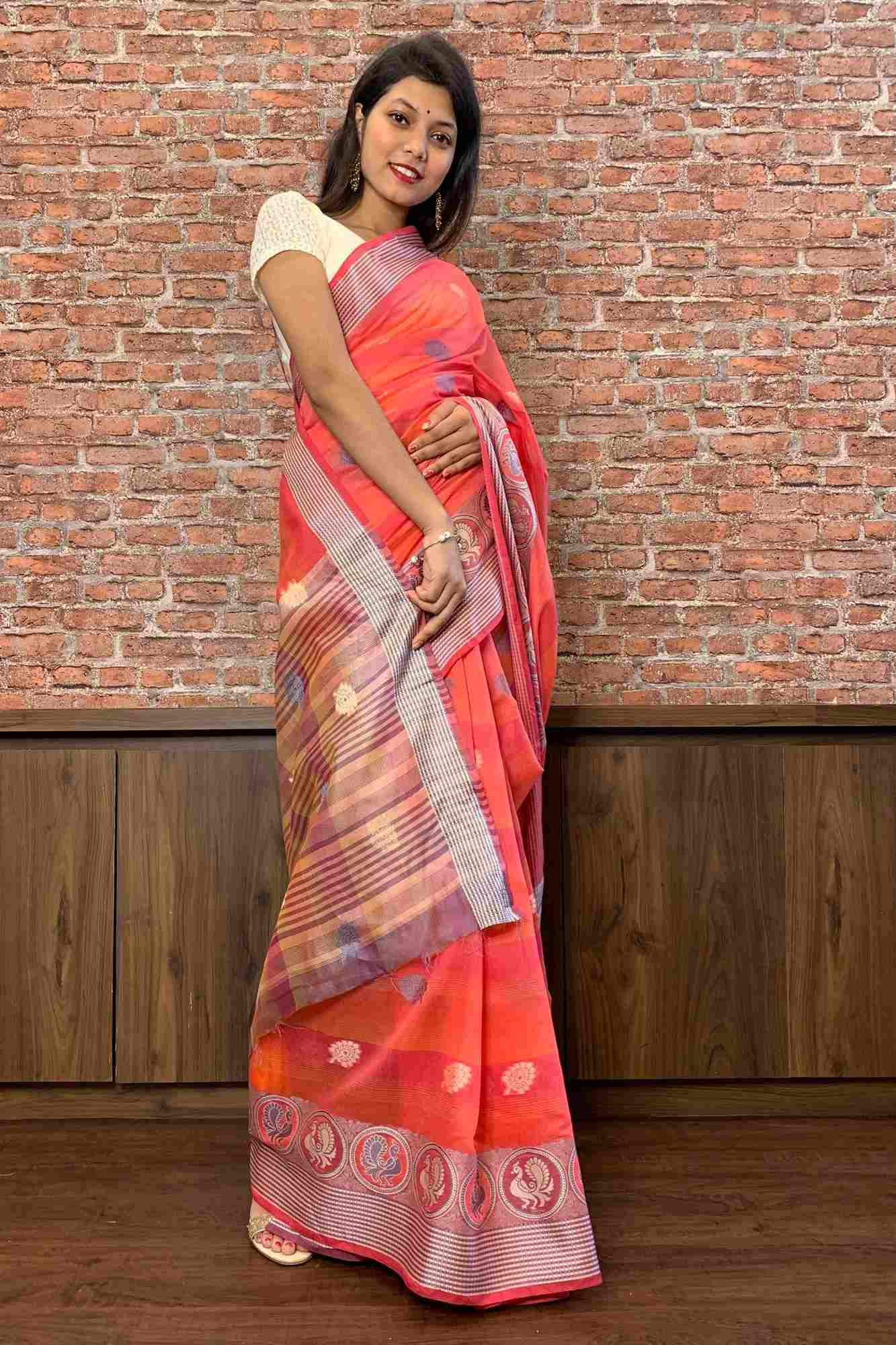 Banarasi cotton silk woven butis wrap in 1 minute saree