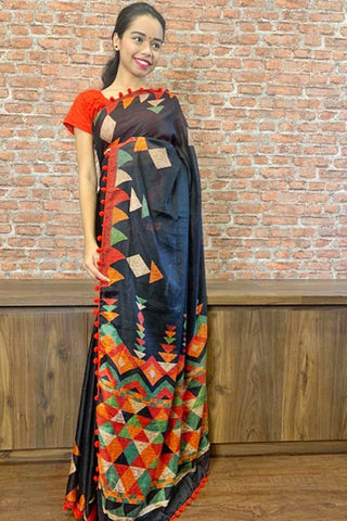 Timeless black and red linen with tassels wrap in 1 minute saree