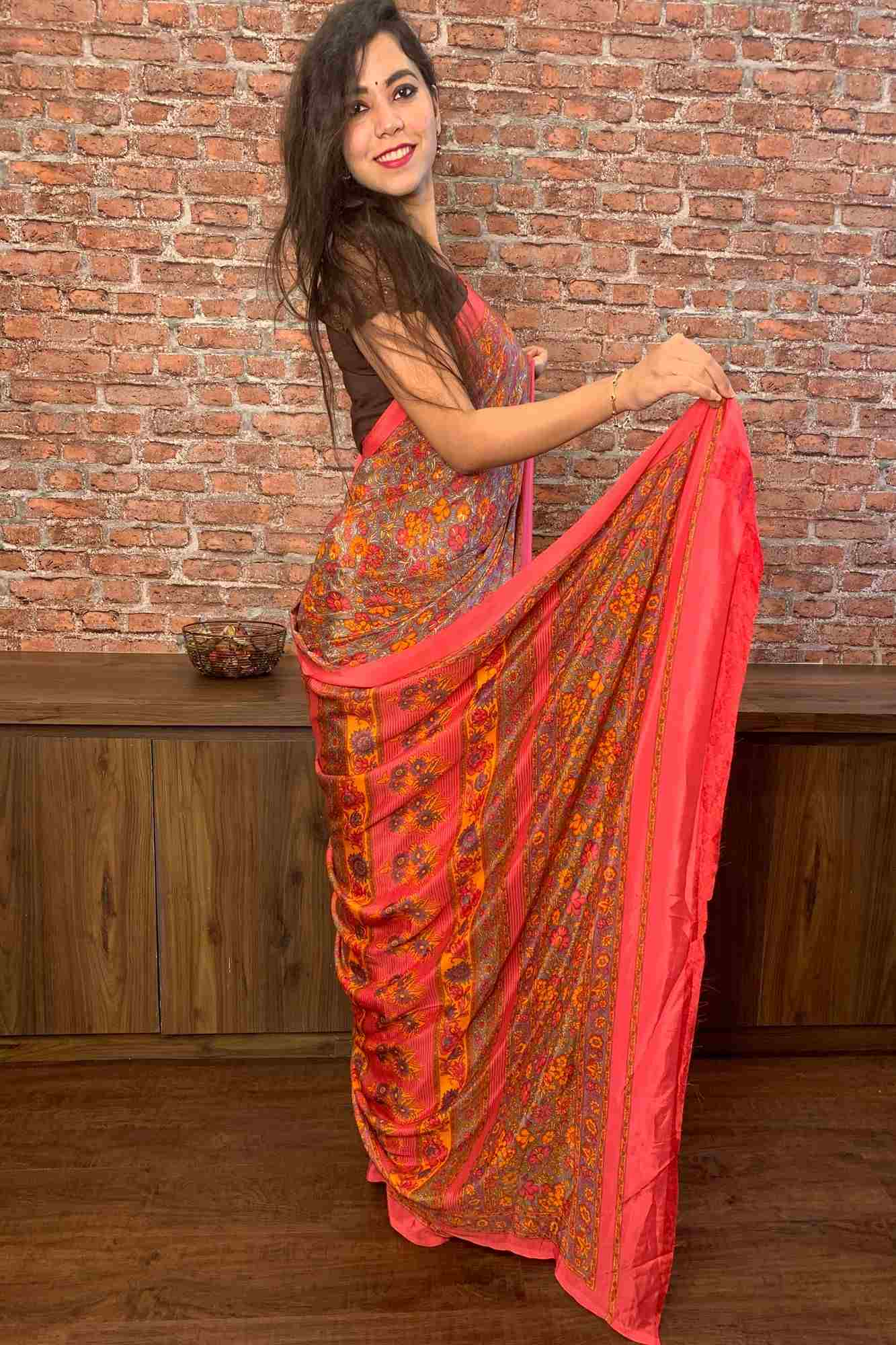 Soft crepe printed wrap in 1 minute saree